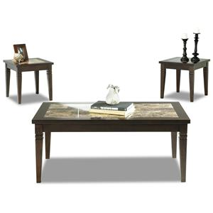 Klaussner International Allendale 3 Pack Cocktail Table & 2 End Tables