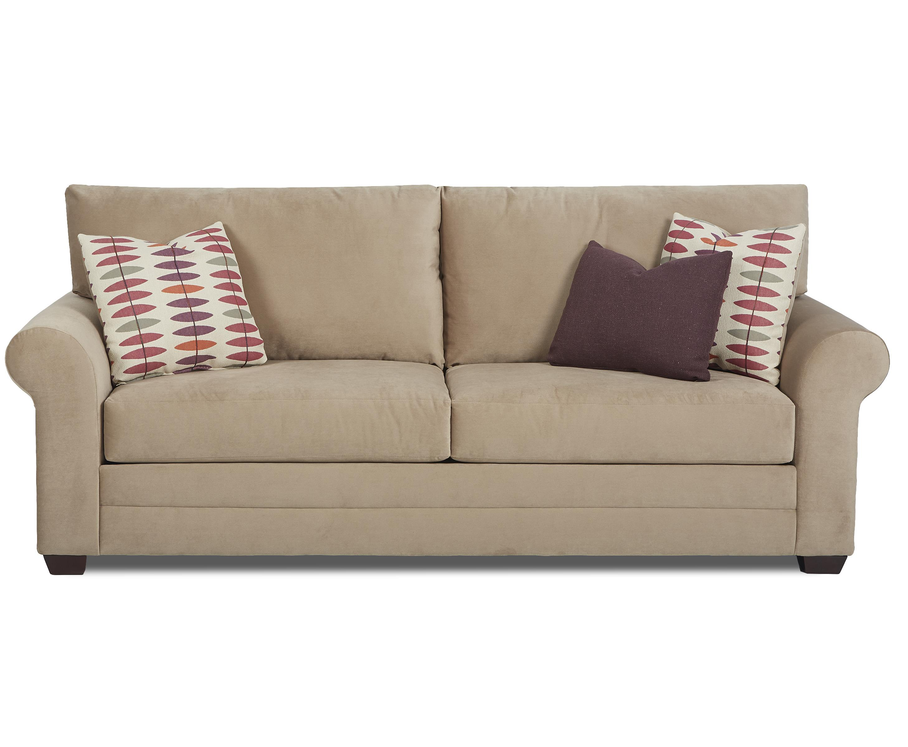 Casual Sofa with Loose Back Pillows and Rolled Arms by Klaussner