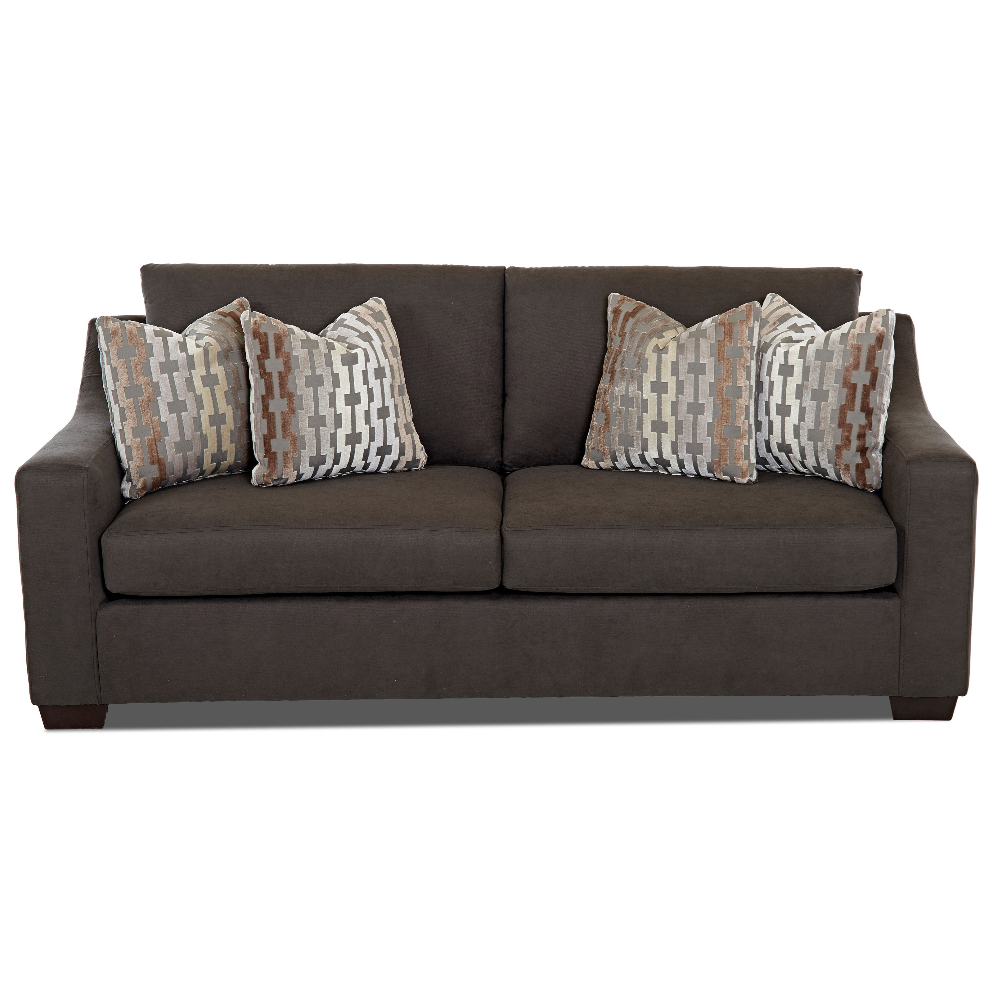 Contemporary Innserspring Sleeper Sofa with Sloped Arms and Loose
