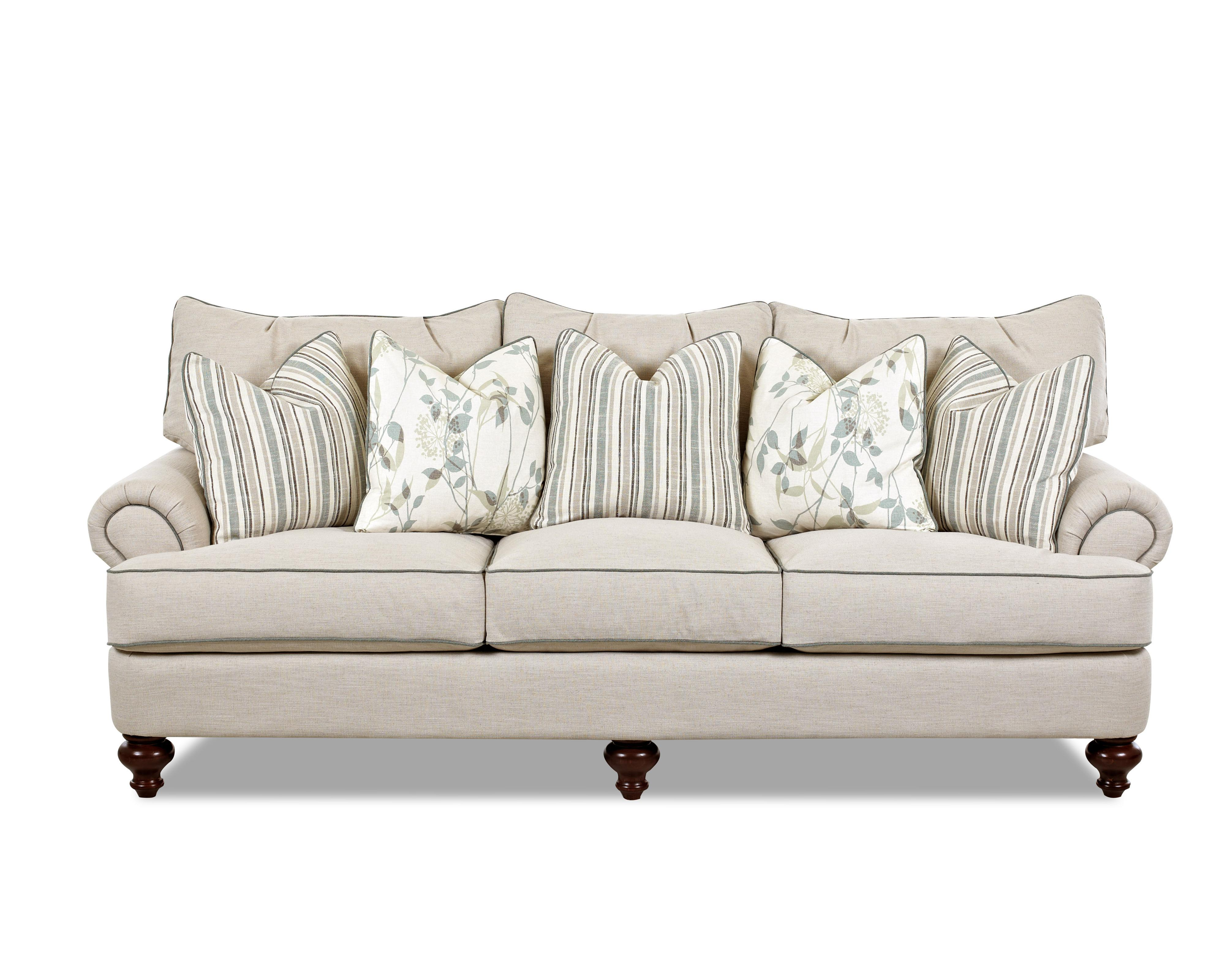 Traditional Upholstered Sofa with T Shaped Down Cushions Rolled