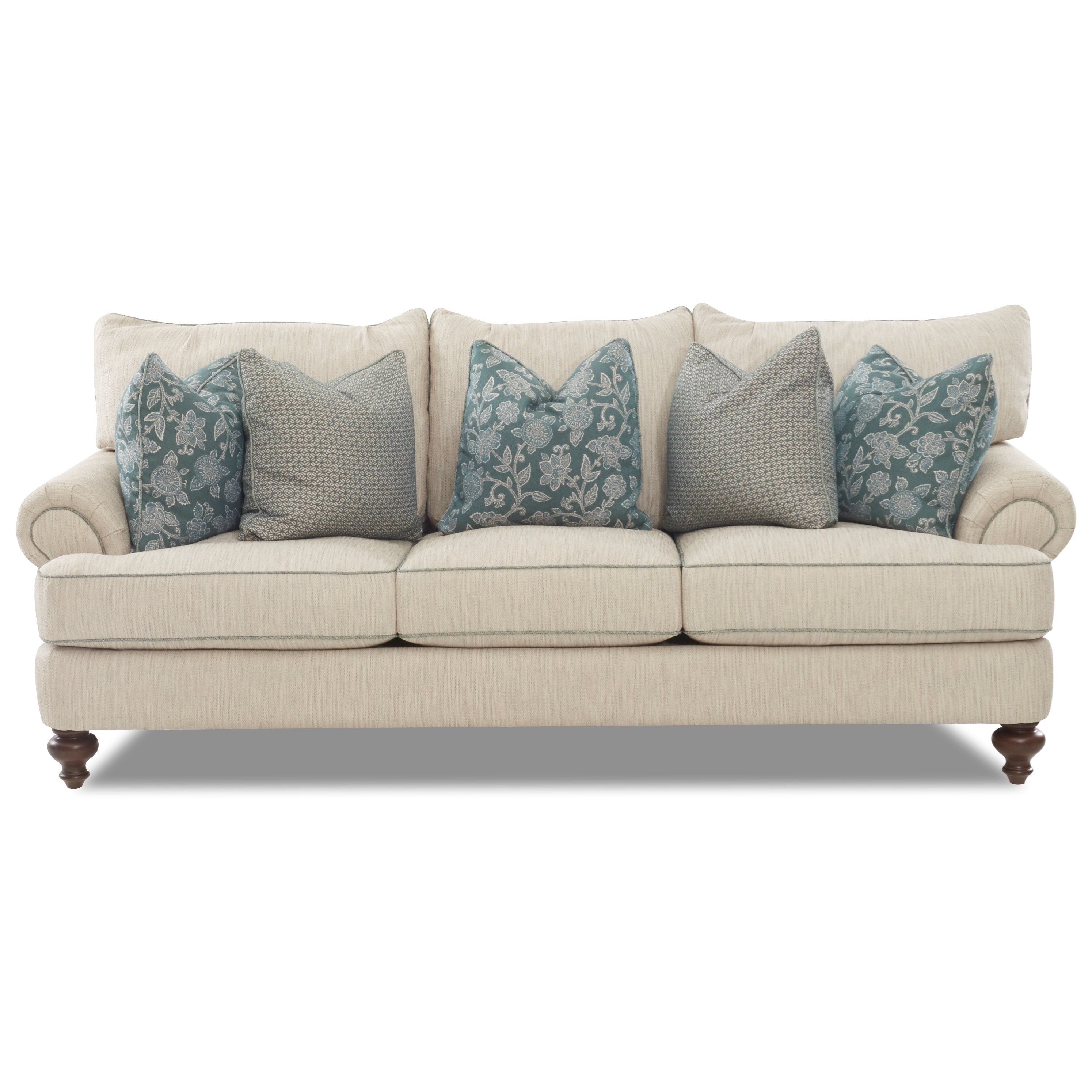 Traditional Upholstered Sofa With T Shaped Down Cushions, Rolled Arms And  Turned Legs