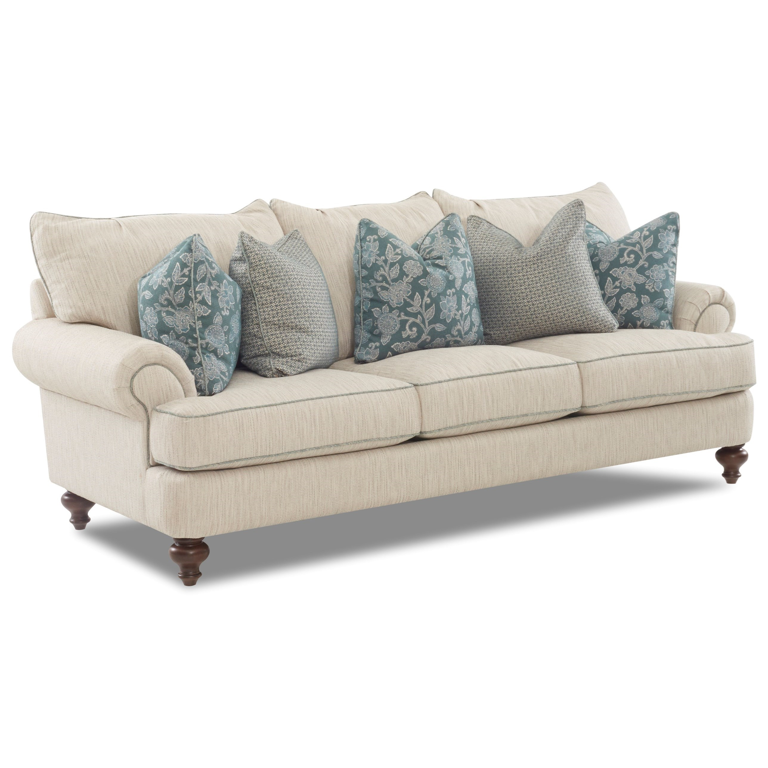 Attrayant Traditional Upholstered Sofa With T Shaped Down Cushions, Rolled Arms And  Turned Legs