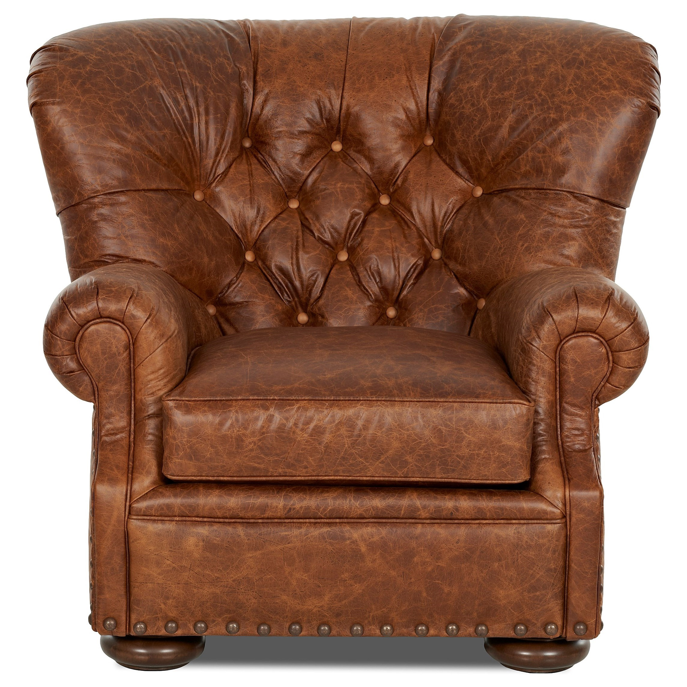 Tufted Leather Chair and Ottoman Set by Klaussner