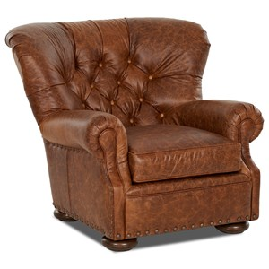 Tufted Leather Wing Back Chair With Large Nailheads
