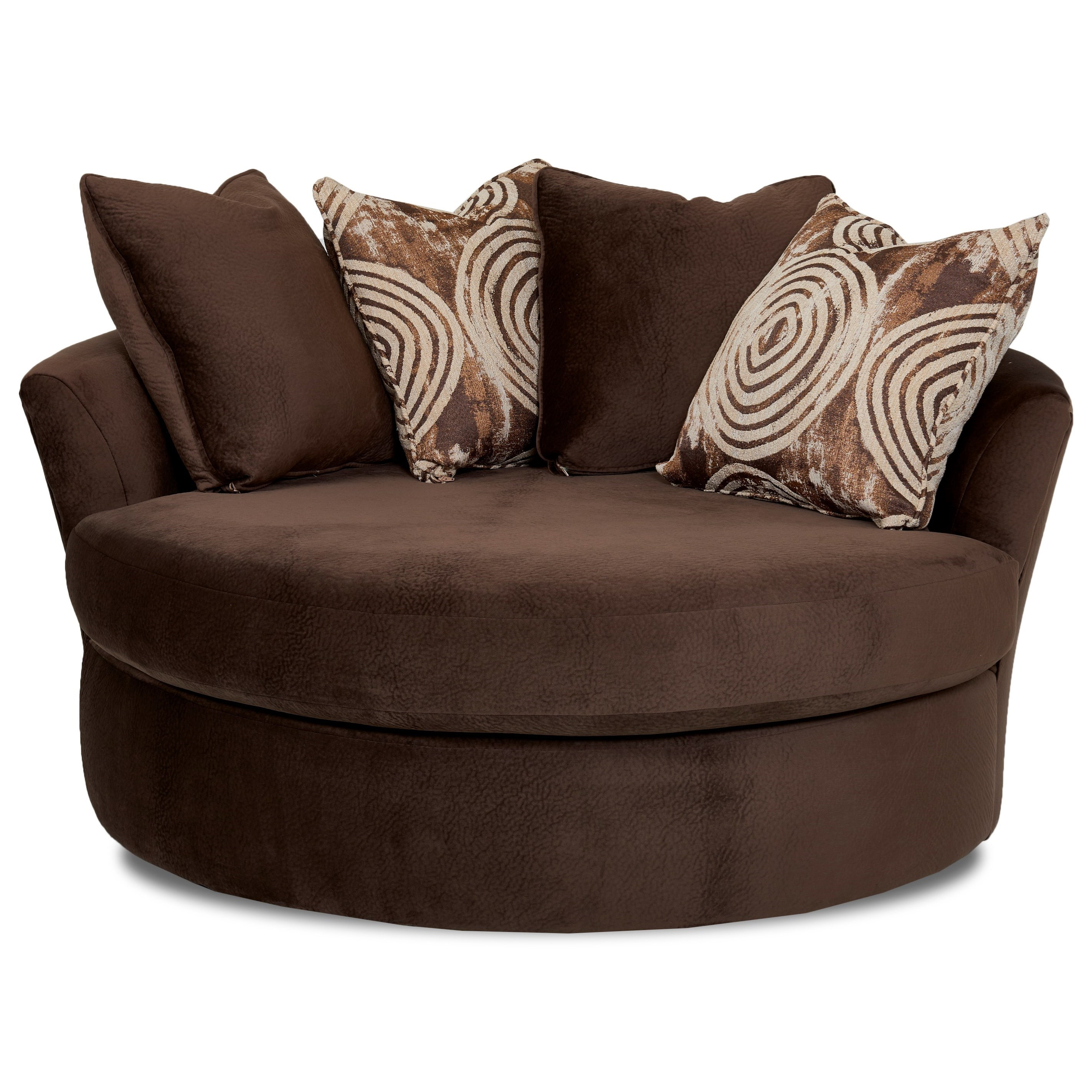 Athena Oversized Swivel Chair With Scattered Back Pillows