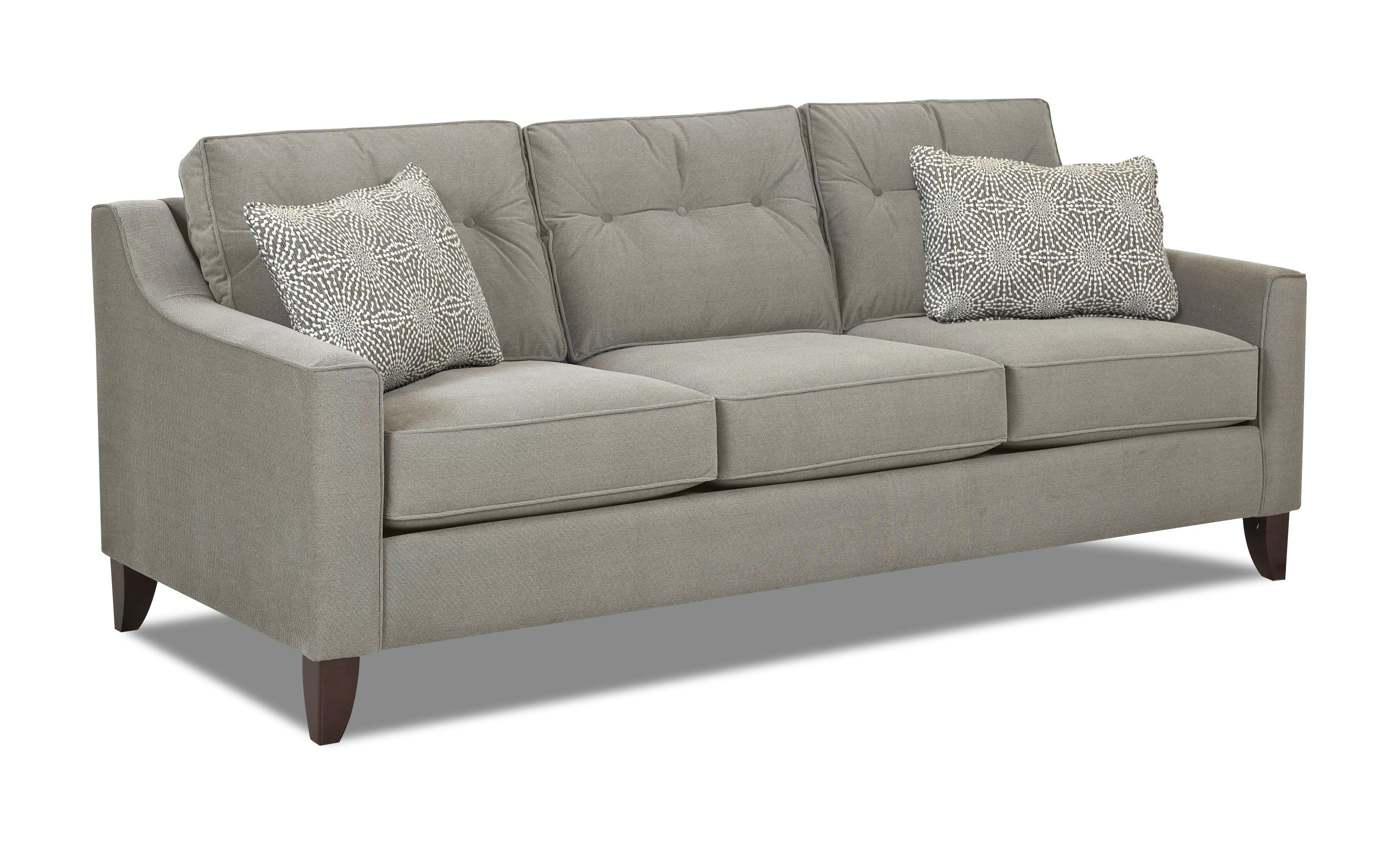 Mid century modern style sofa with tufted cushions by for Modern style sofa
