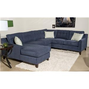 Klaussner Audrina Contermporary 3 Piece Sectional Sofa