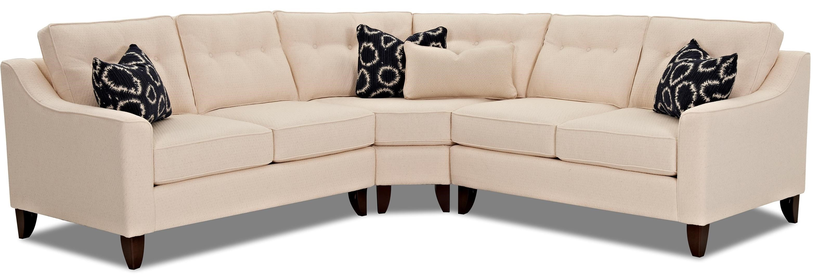 Contemporary 3 Piece Sectional with Wedge