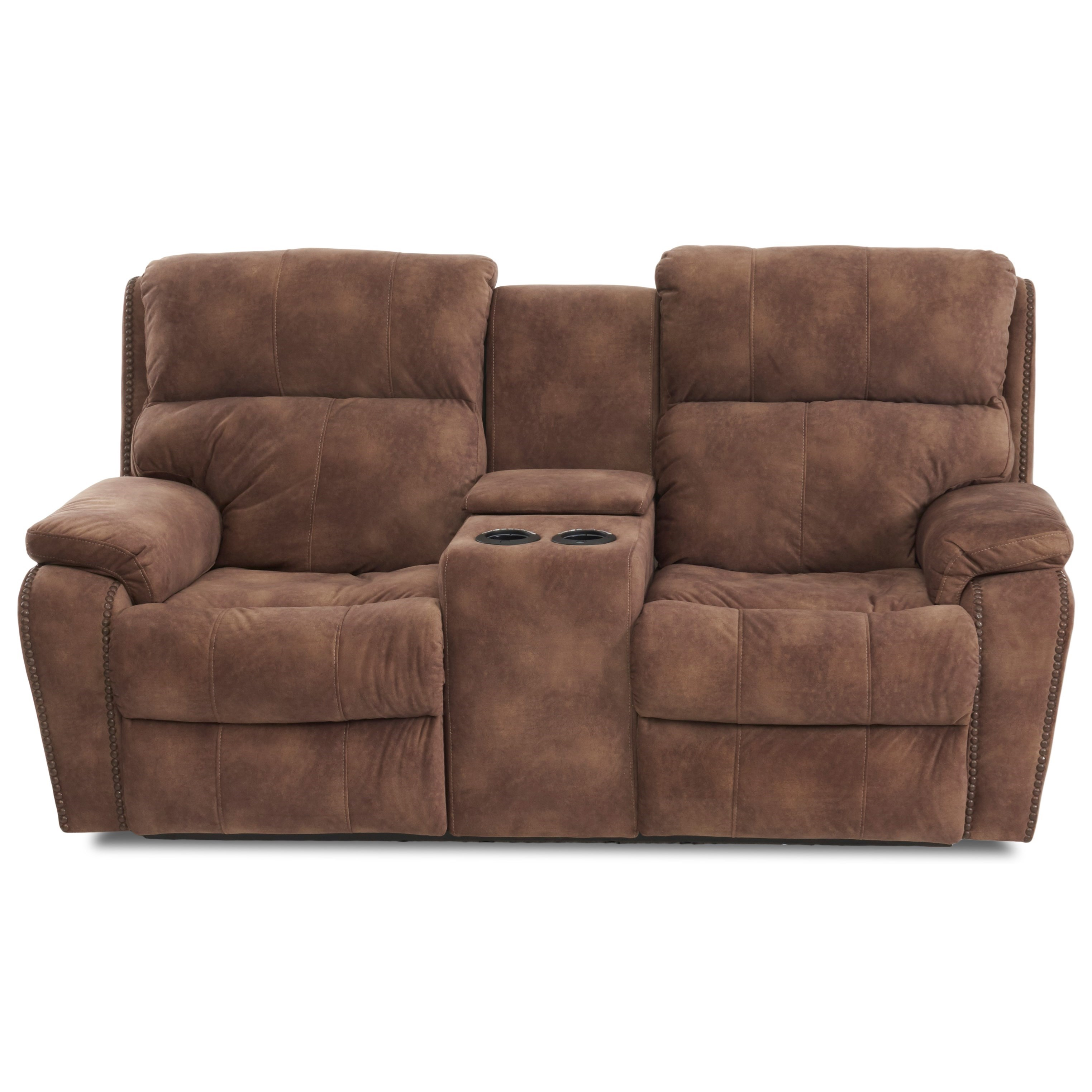Casual Console Power Reclining Loveseat with Nails and USB Charging Ports
