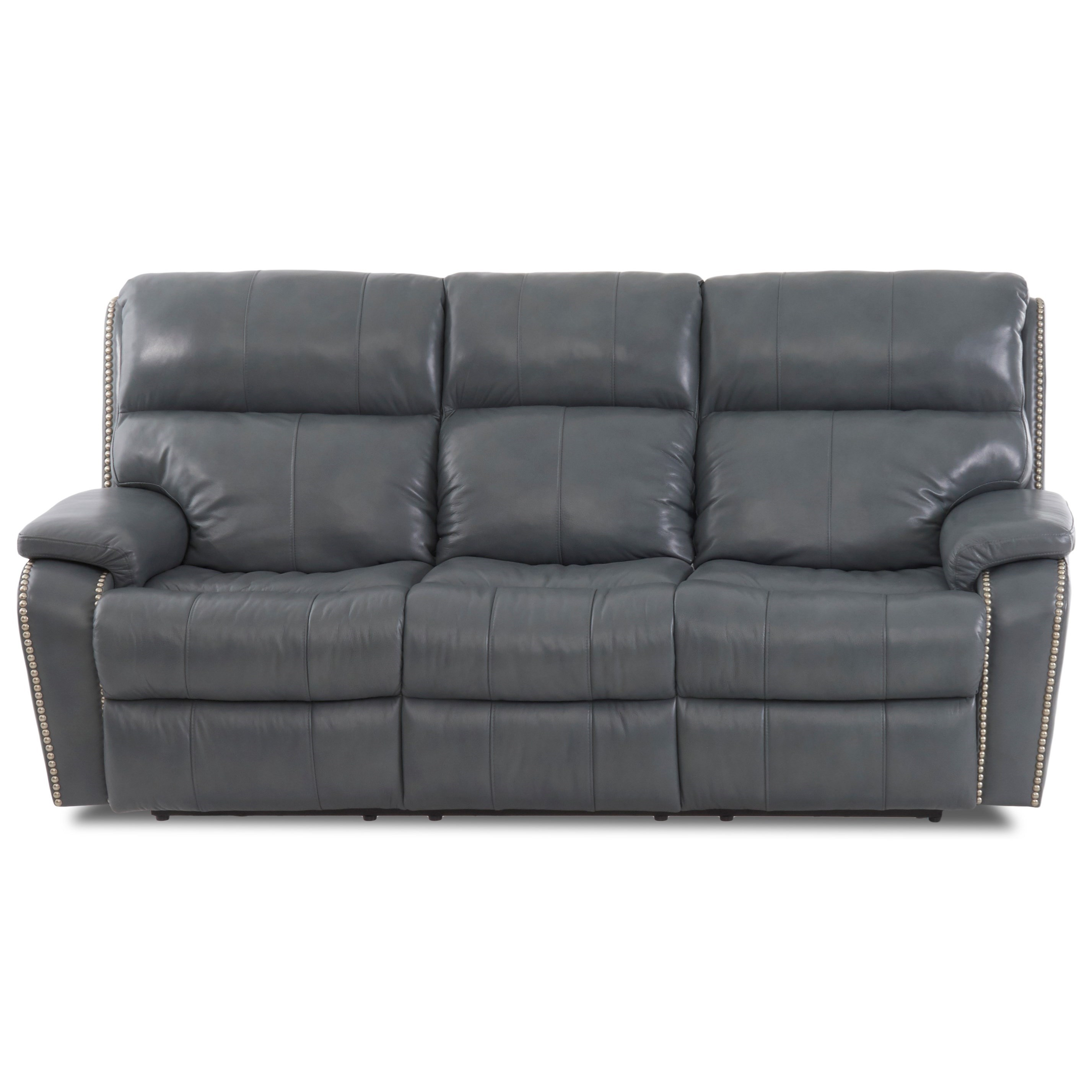 Casual Power Reclining Sofa with Nails, Power Headrests & Lumbar, USB Charging Ports