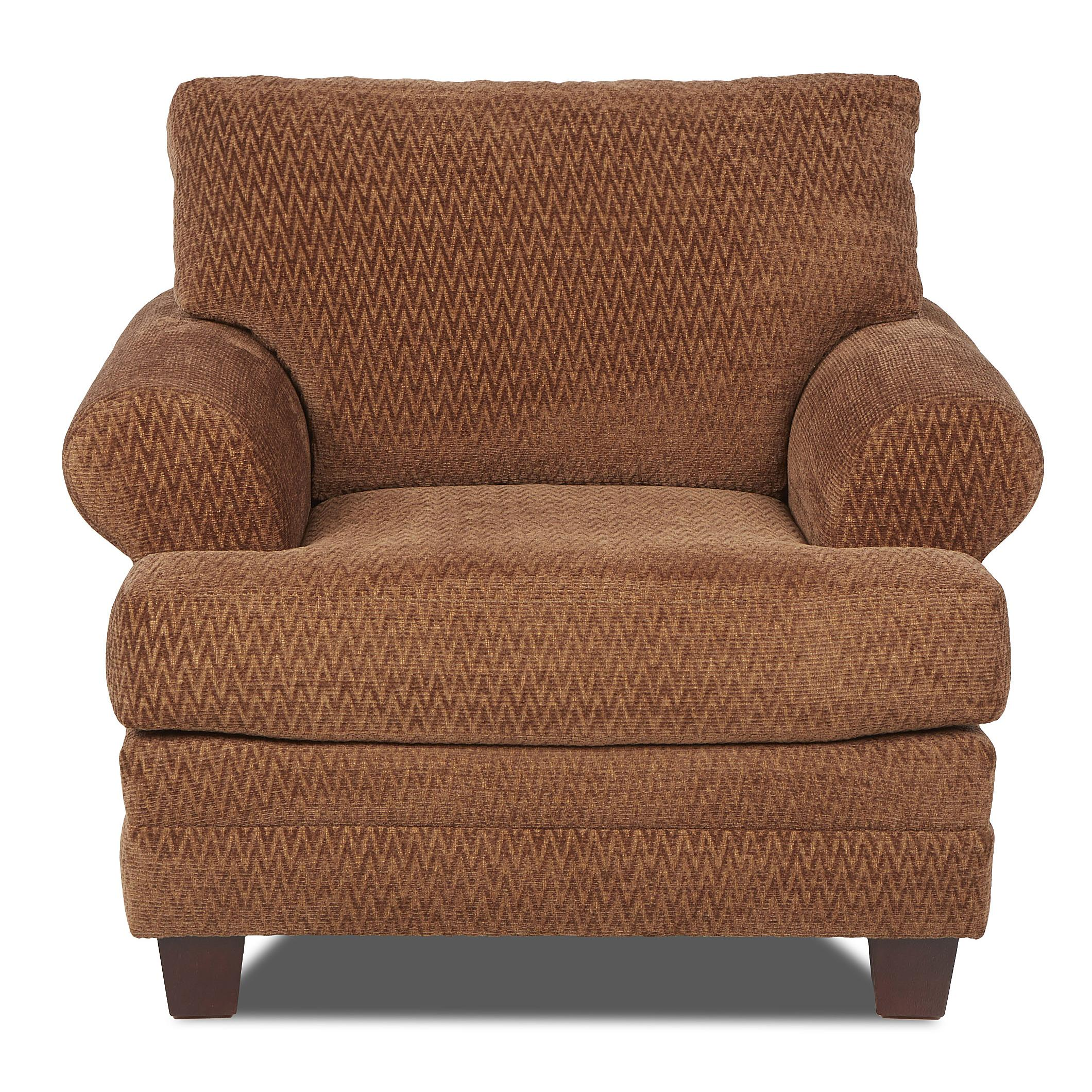 Casual Upholstered Chair with Attached Back Pillows