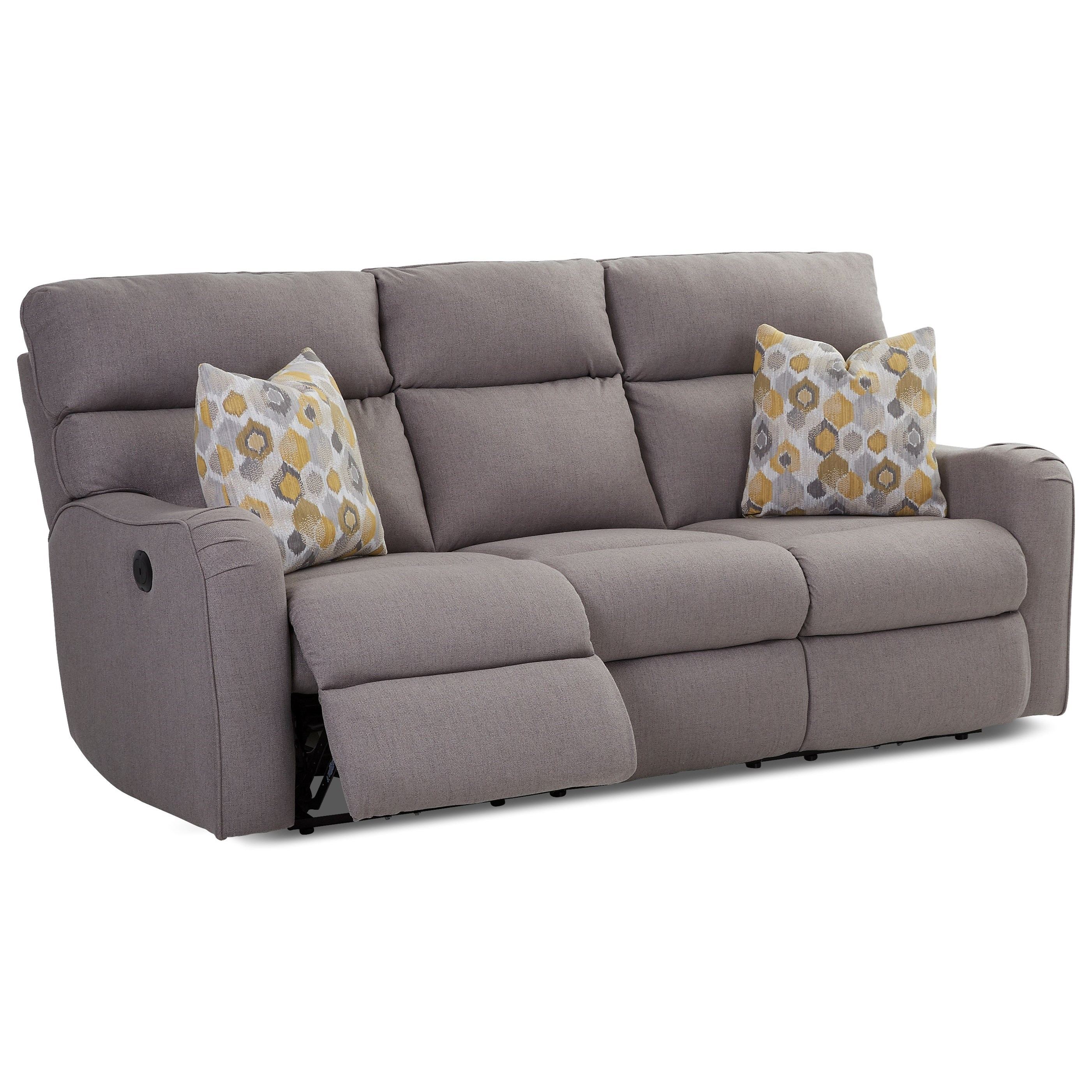 Reclining Sofa with Throw Pillows by Klaussner