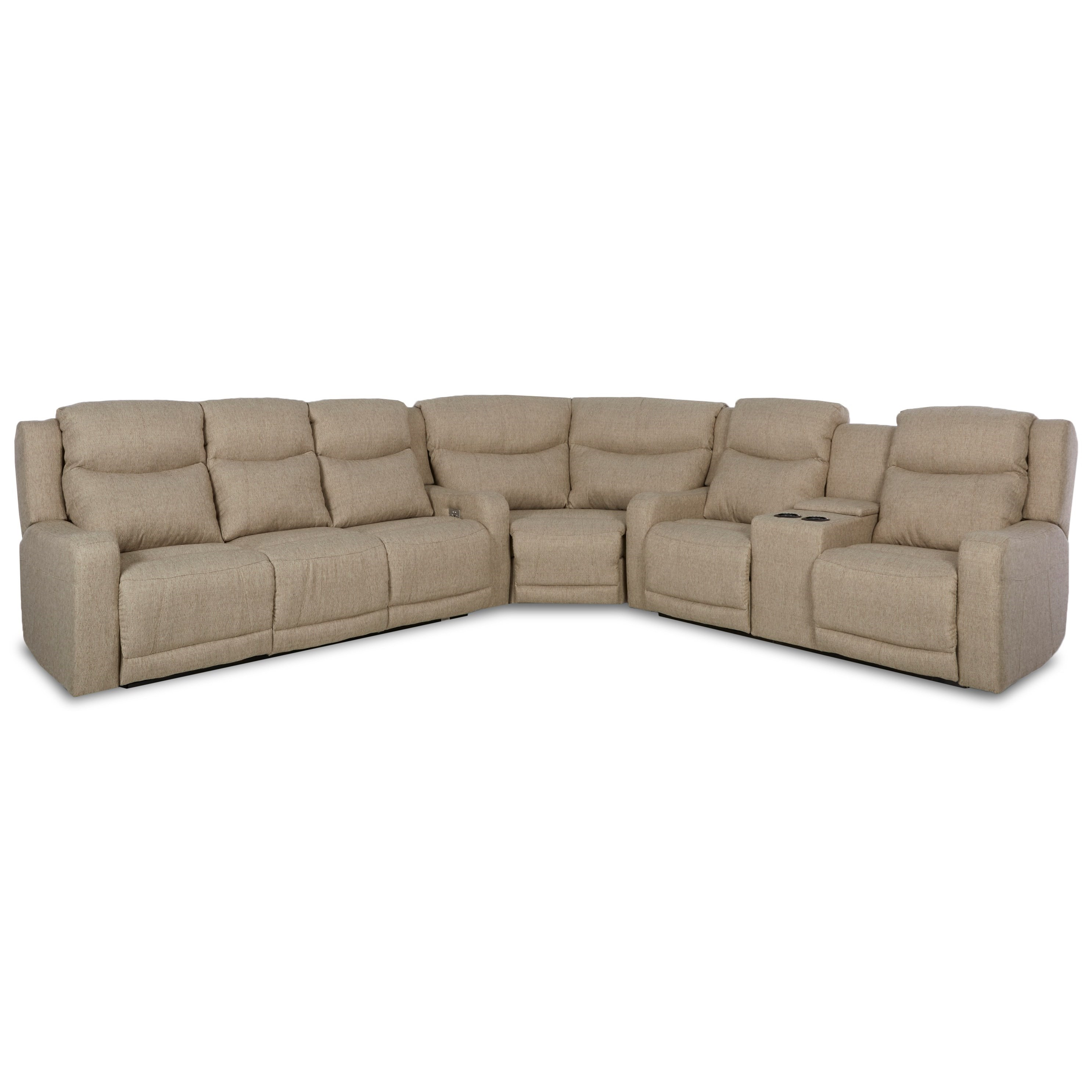 Three Pc Power Reclining Sectional Sofa with Adjustable Headrest