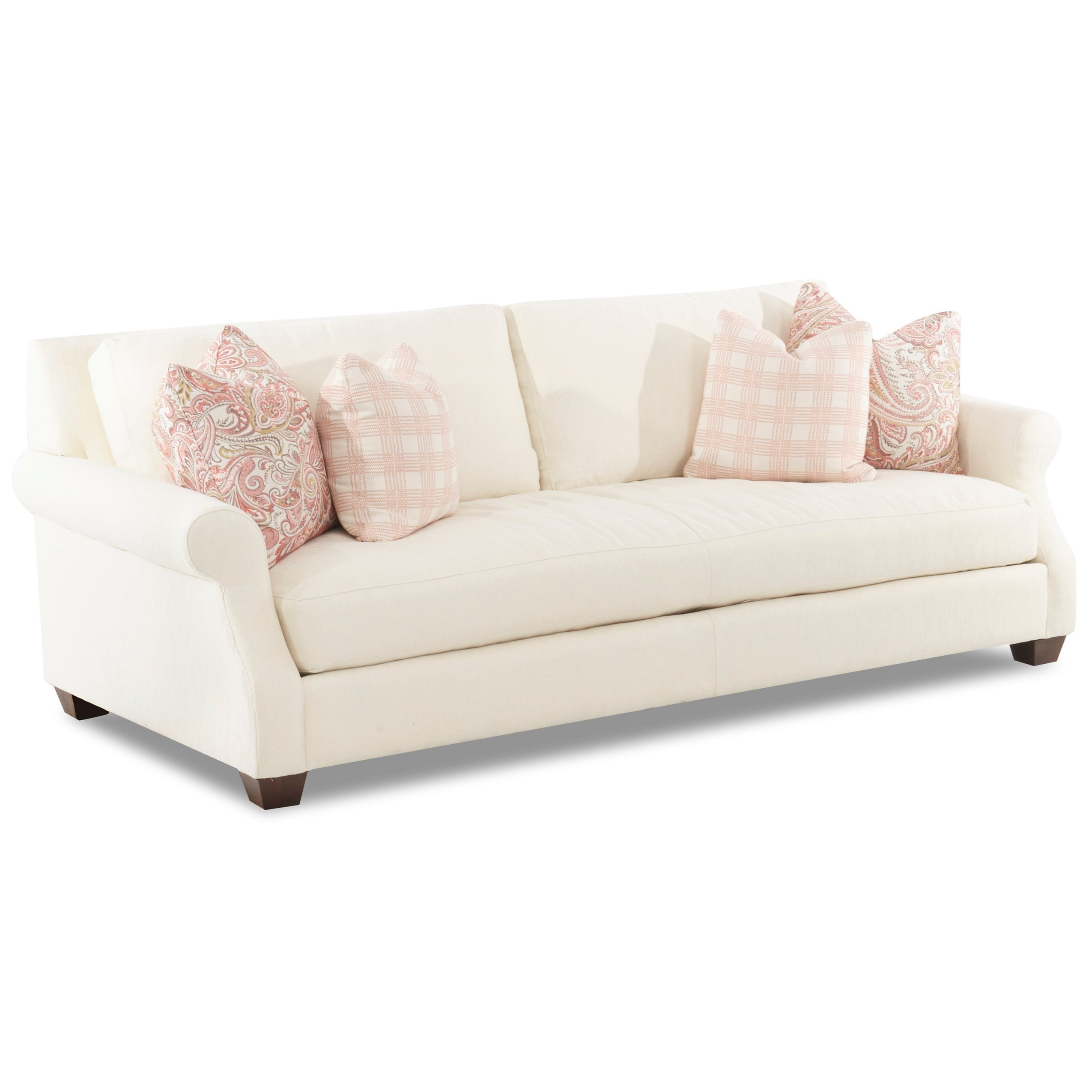 Casual Sofa with Scalloped Rolled Arms