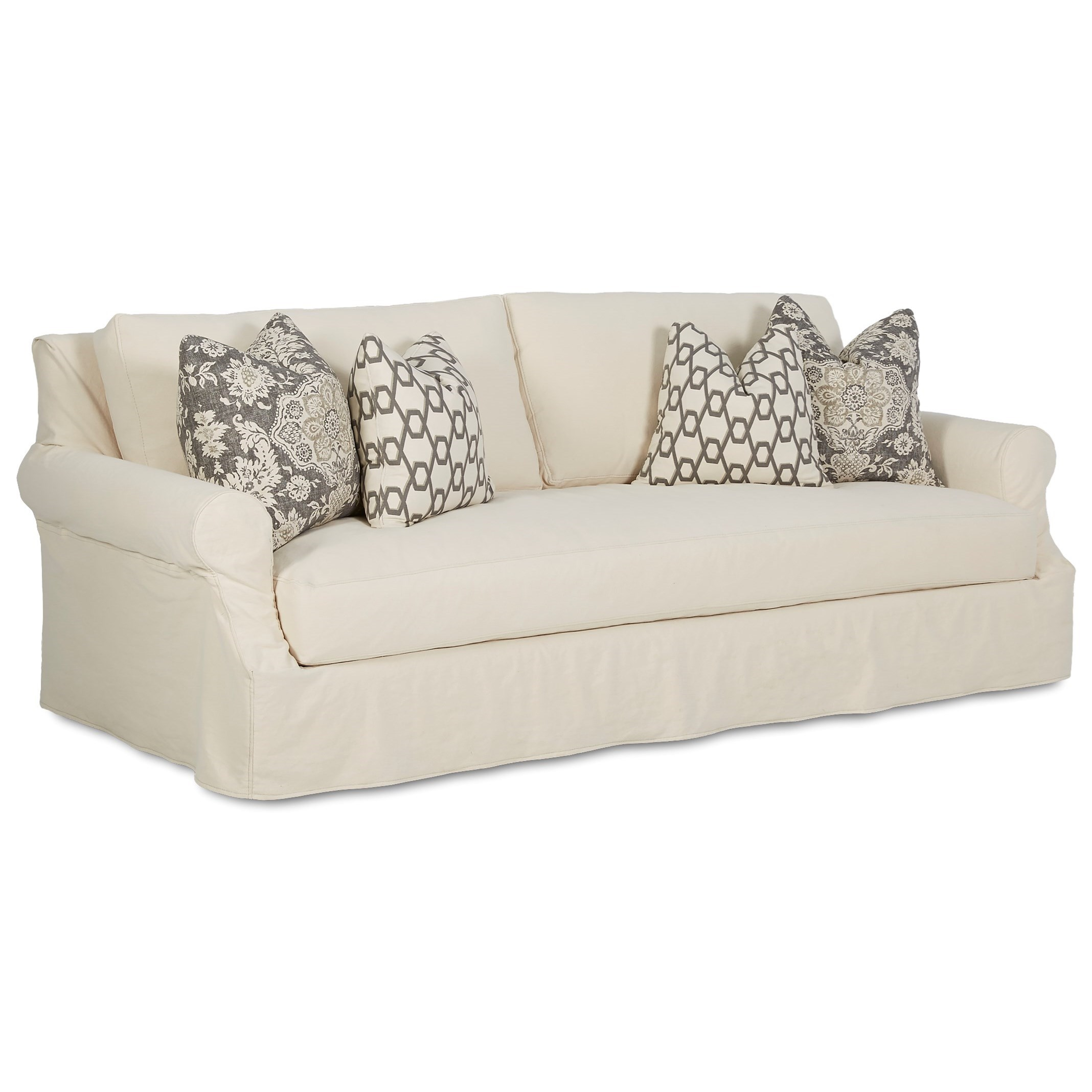 Casual Slipcover Sofa with Scalloped Rolled Arms