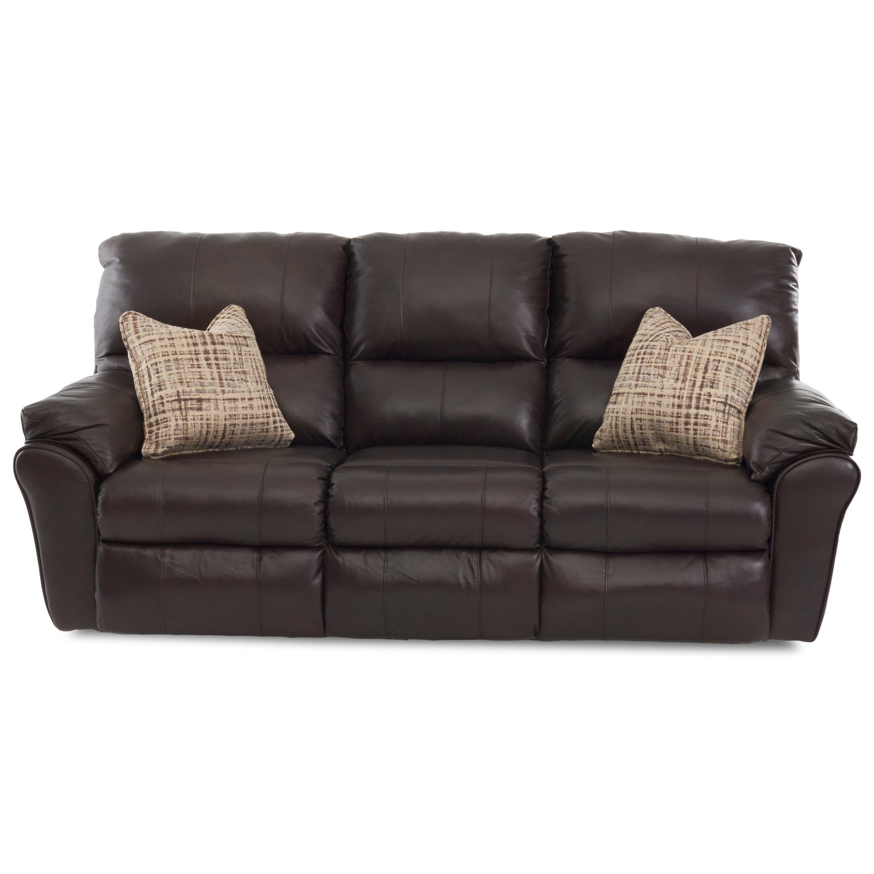 Casual Reclining Sofa with 2 Power Chairs & 1 Manual Chair and Pillows