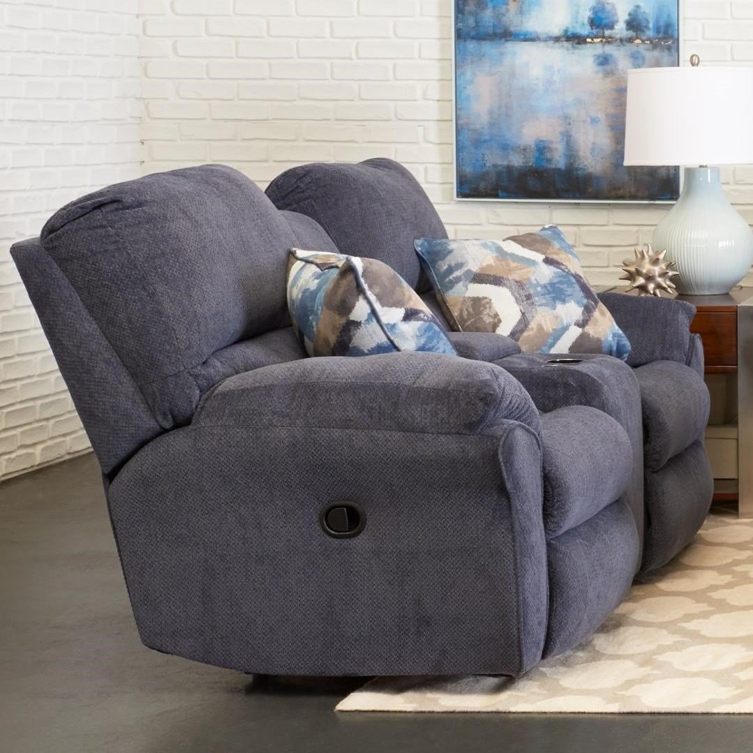 Casual Power Reclining Loveseat with Cupholder Storage Console and Pillows