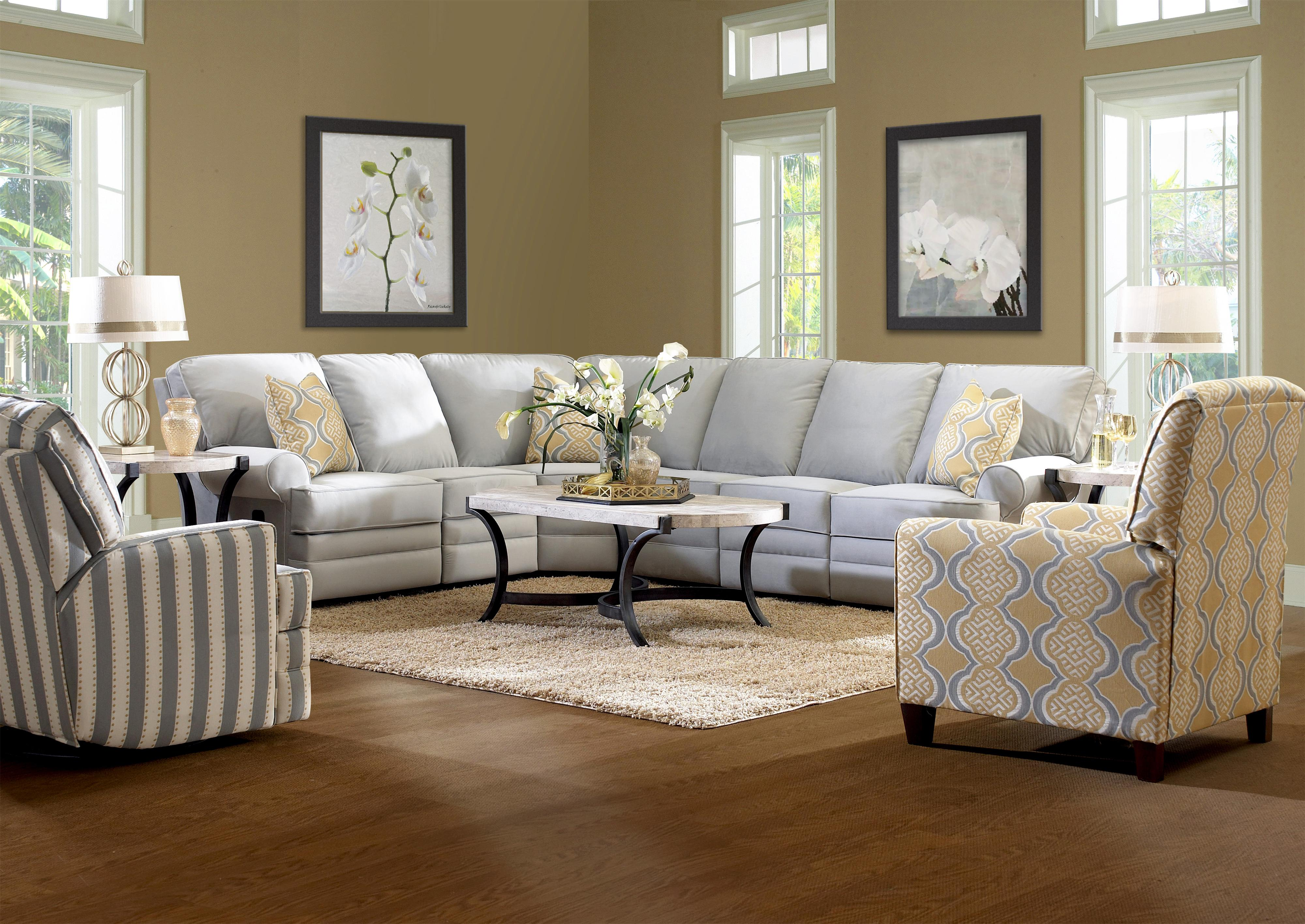 Classic Reclining Sectional Sofa with Rolled Arms by Klaussner