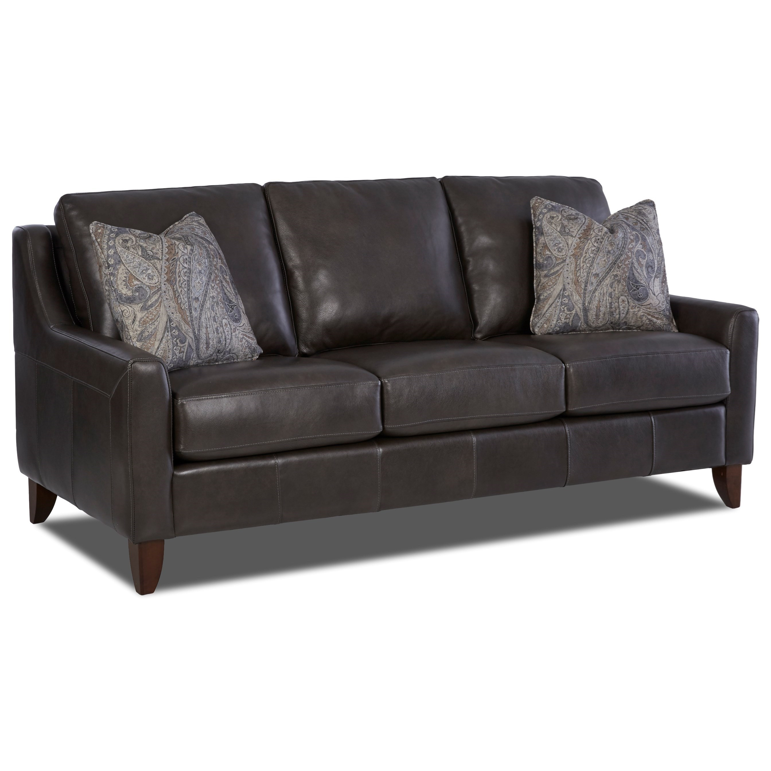 Leather Sofa with Track Arms and Fabric Pillows