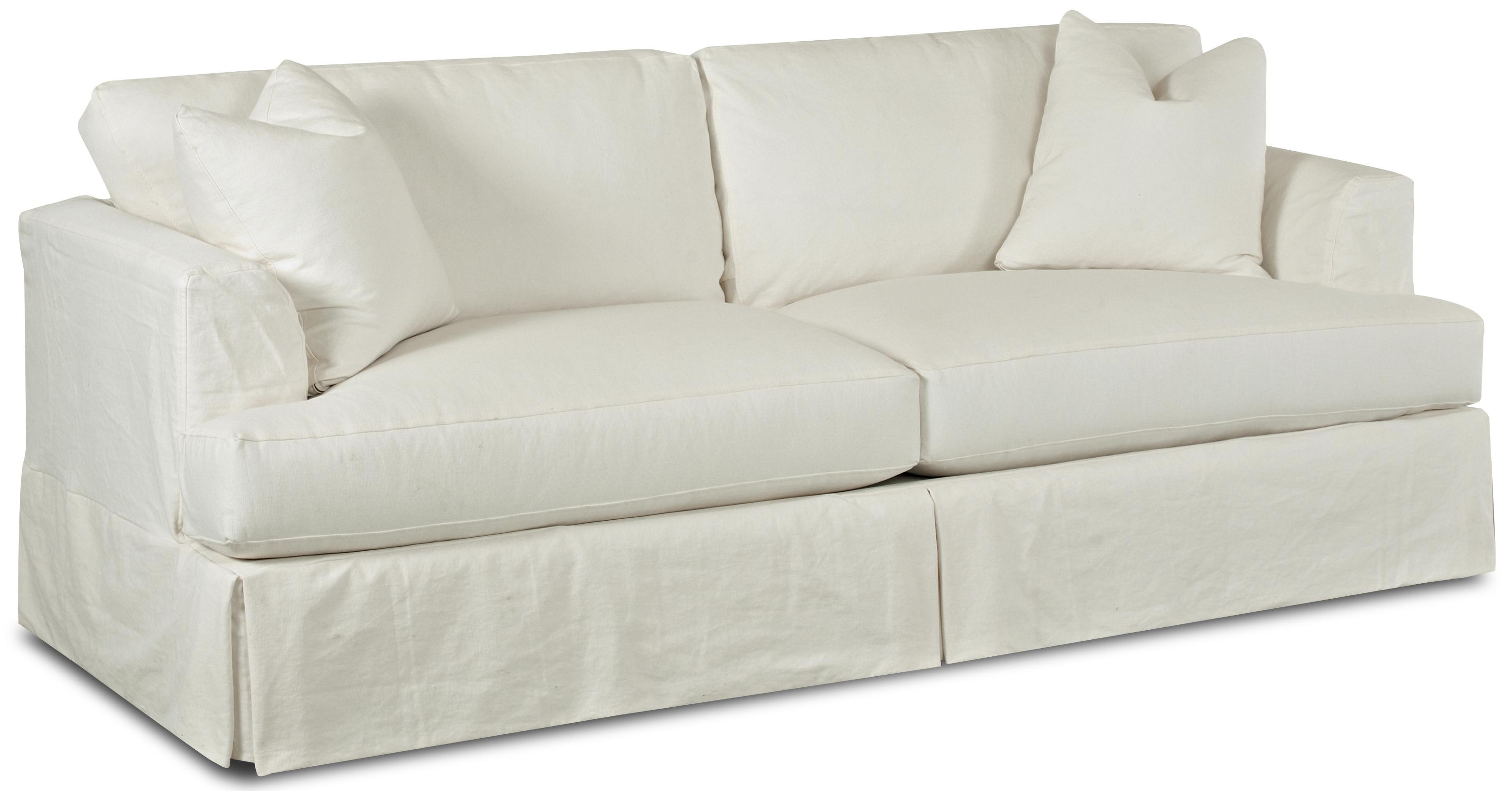Slipcover Stationary Sofa with Flared Track Arms by Klaussner