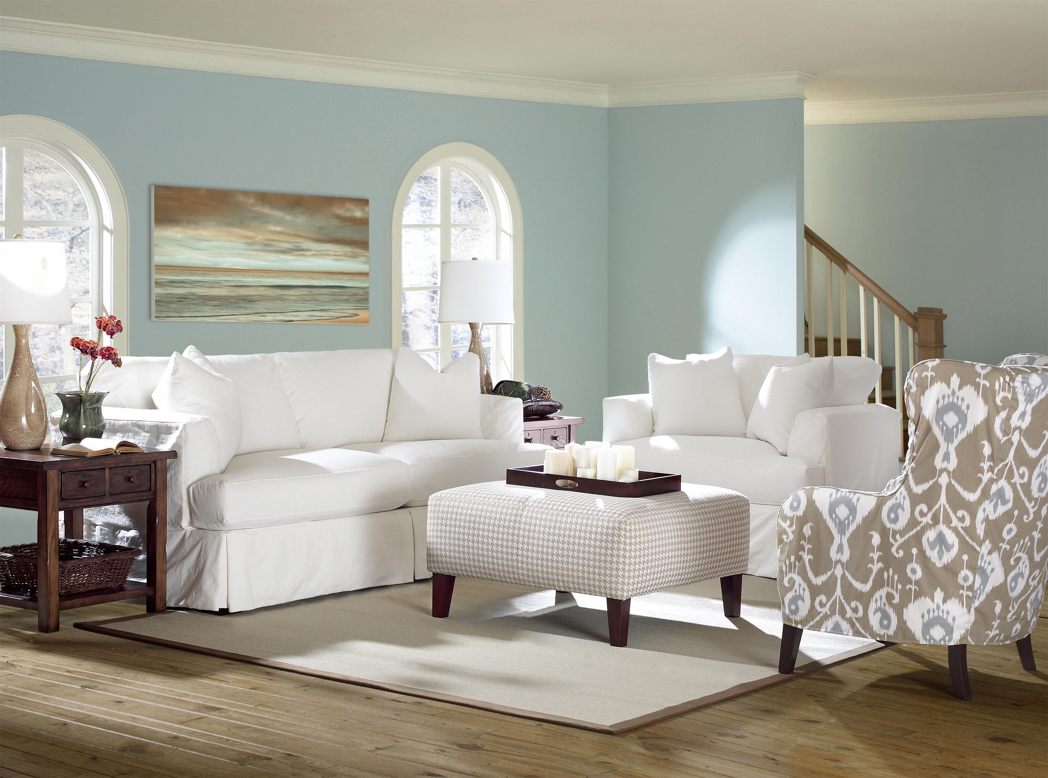Slipcover Stationary Sofa With Flared Track Arms By