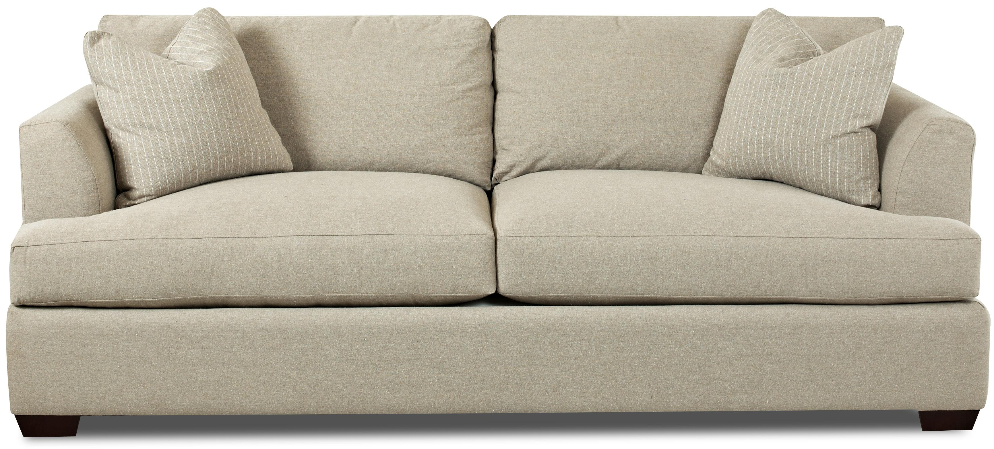 Contemporary Sofa with Flared Track Arms by Klaussner