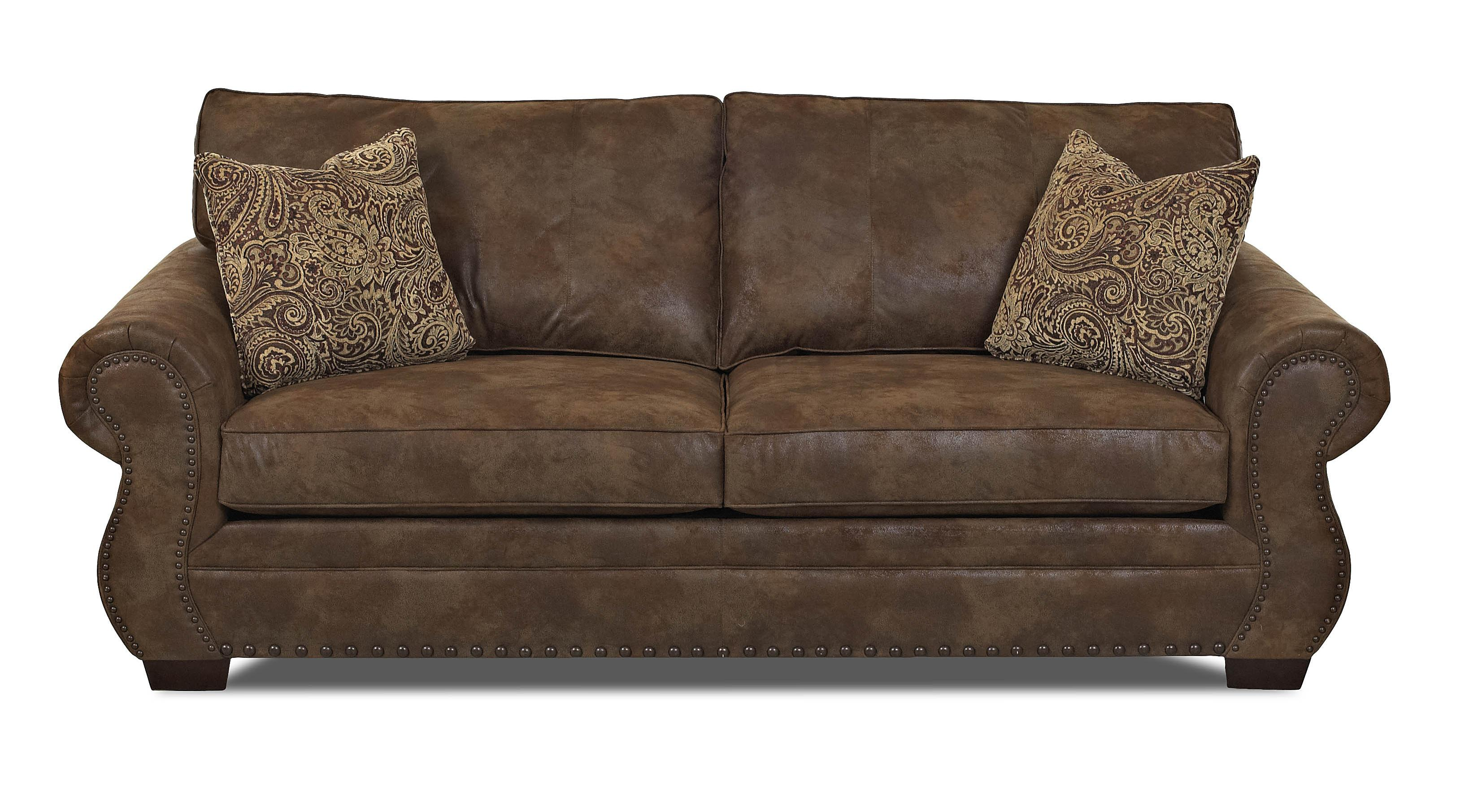 Traditional Sofa with Rolled Arms and Nailhead Trim by Klaussner