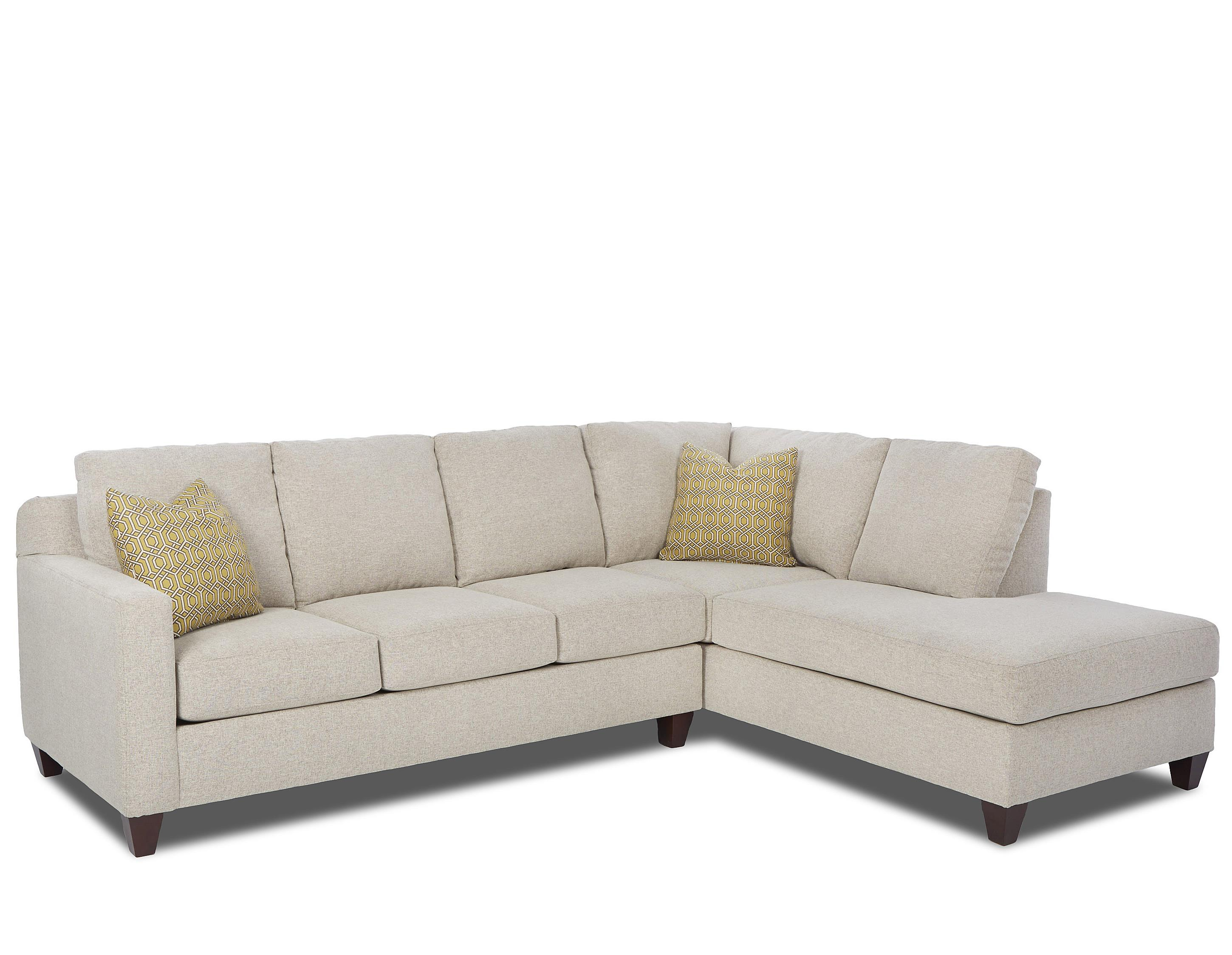 Contemporary 2 Piece Sectional with Right Arm Facing Sofa Chaise