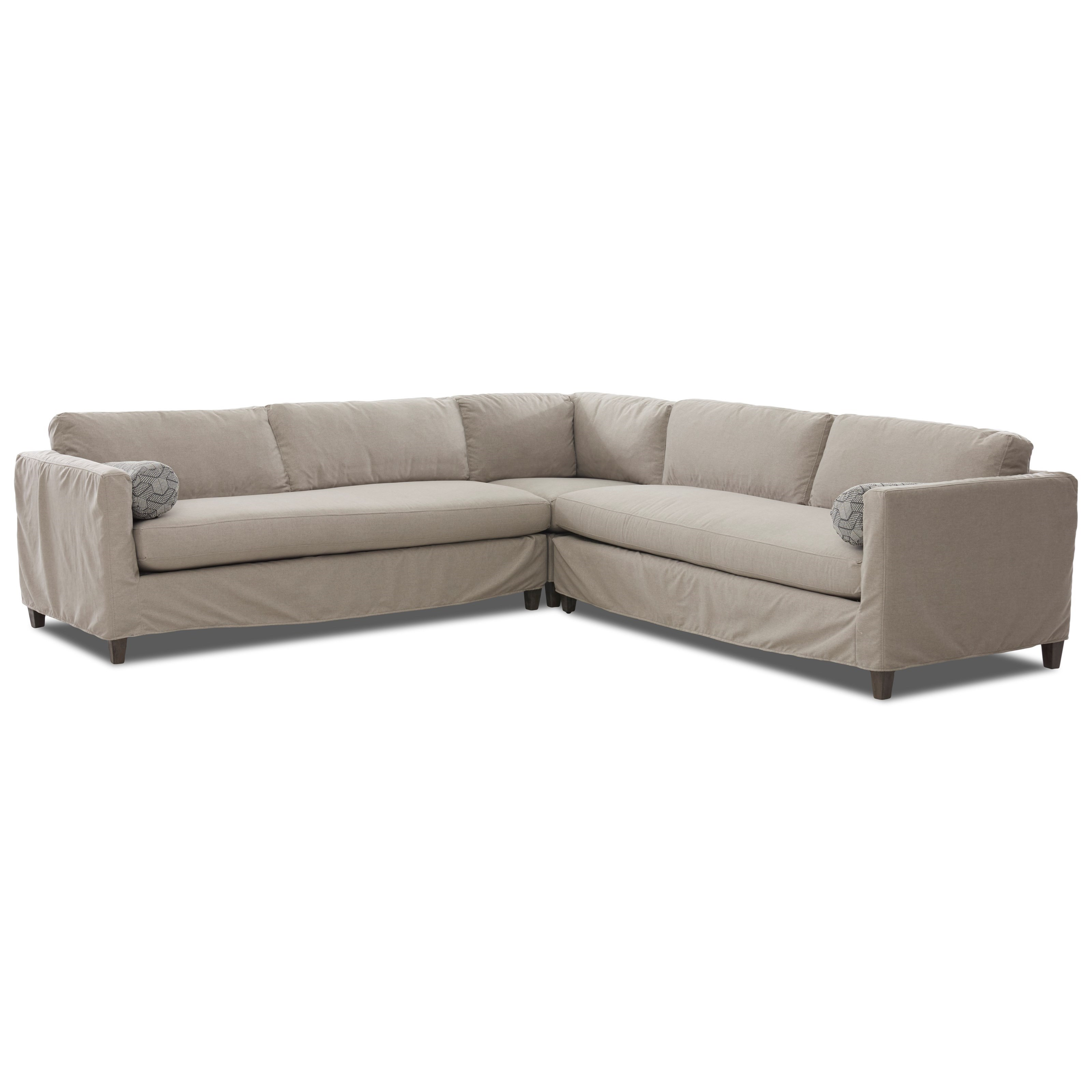 3-Piece Slipcover Sectional with Down Blend Cushions