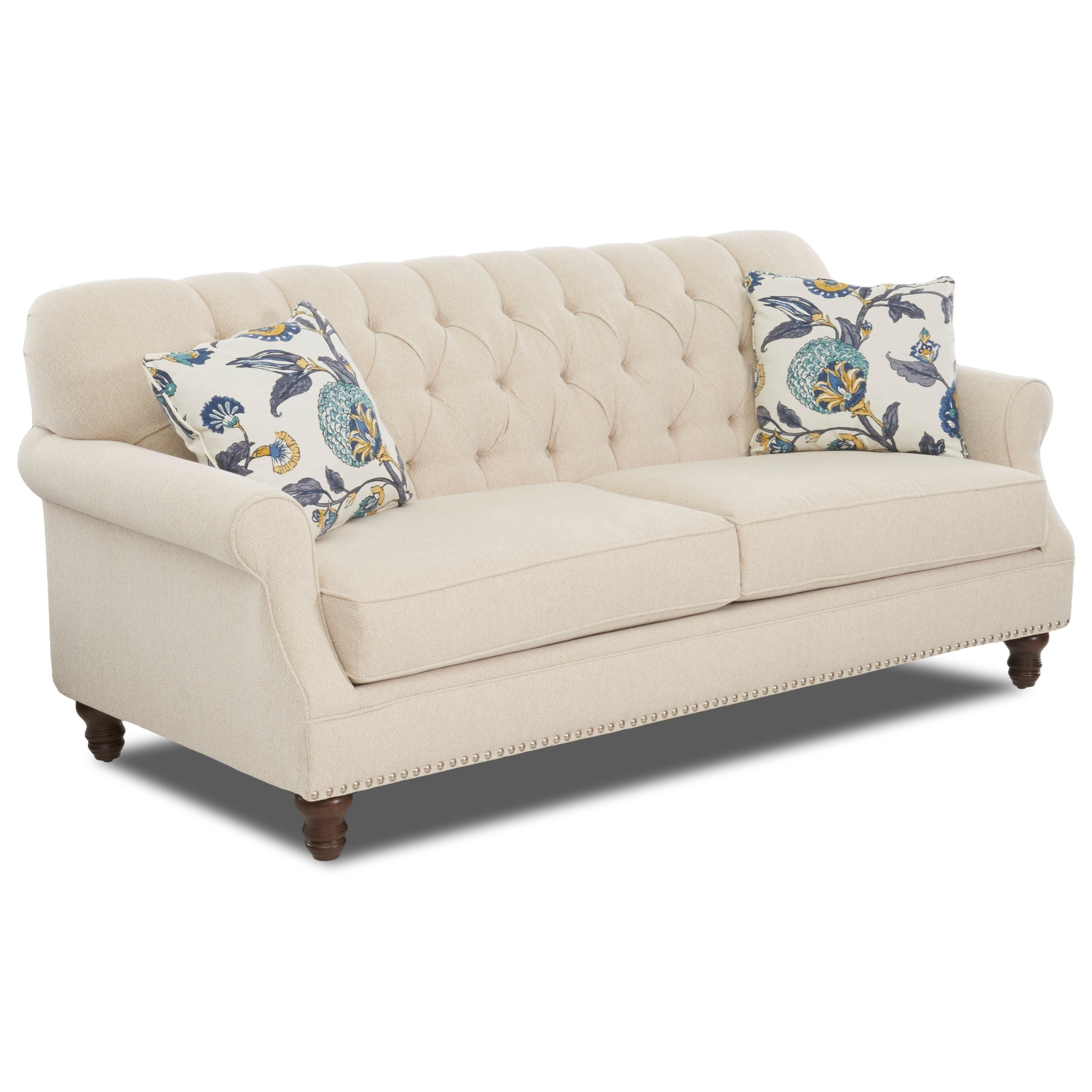 Traditional tufted apartment size sofa with nailheads by klaussner wolf furniture - Apartment size sectional sofa ...