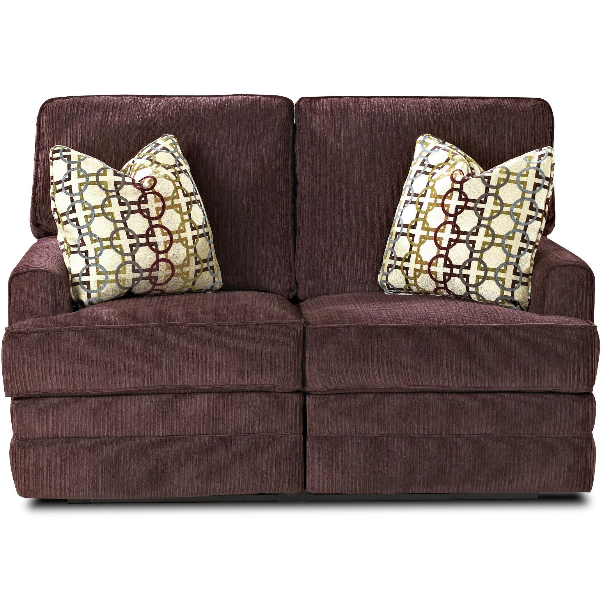 Casual Reclining Love Seat with Track Arms with Pillows