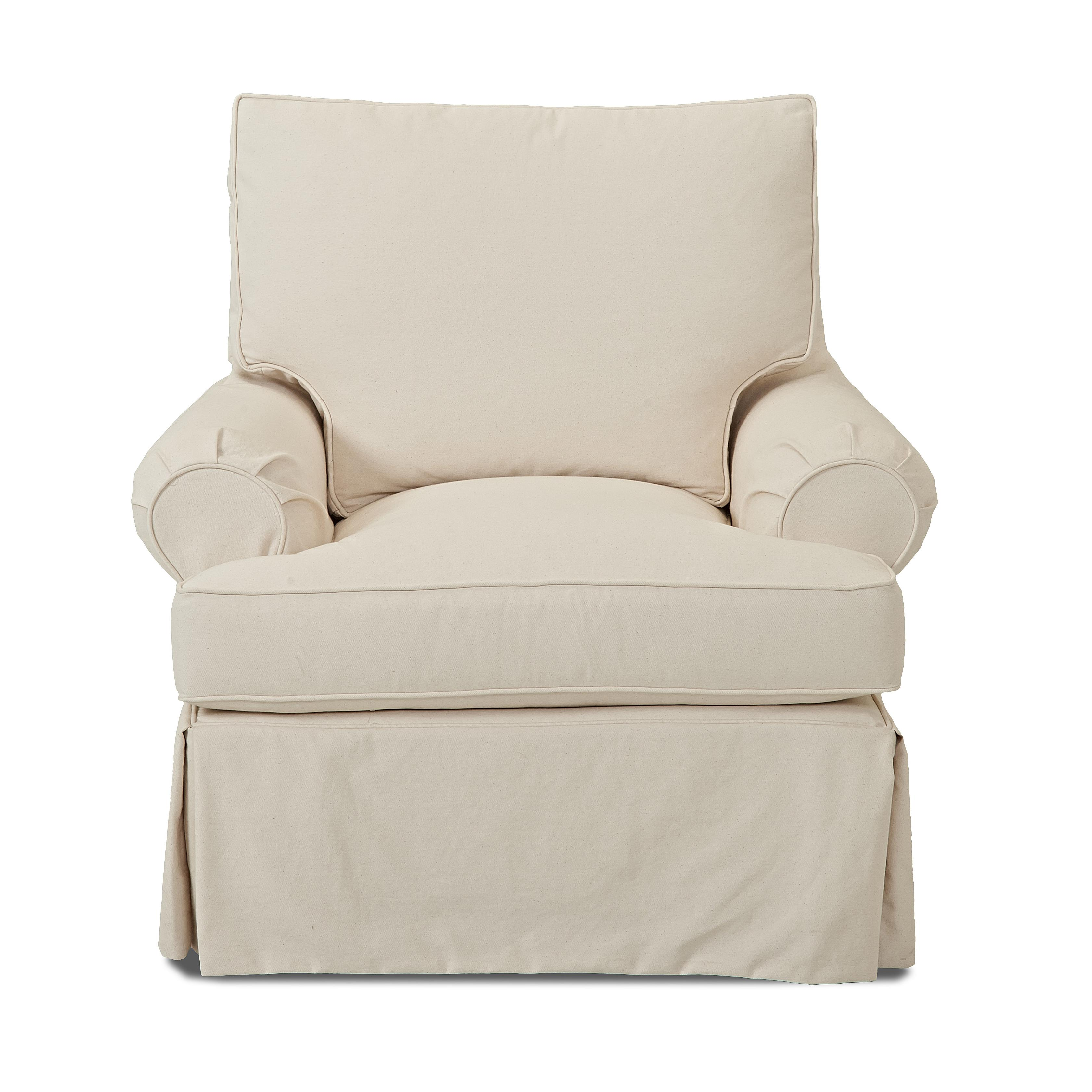 Casual Slip Cover Chair with Down Blend Cushions