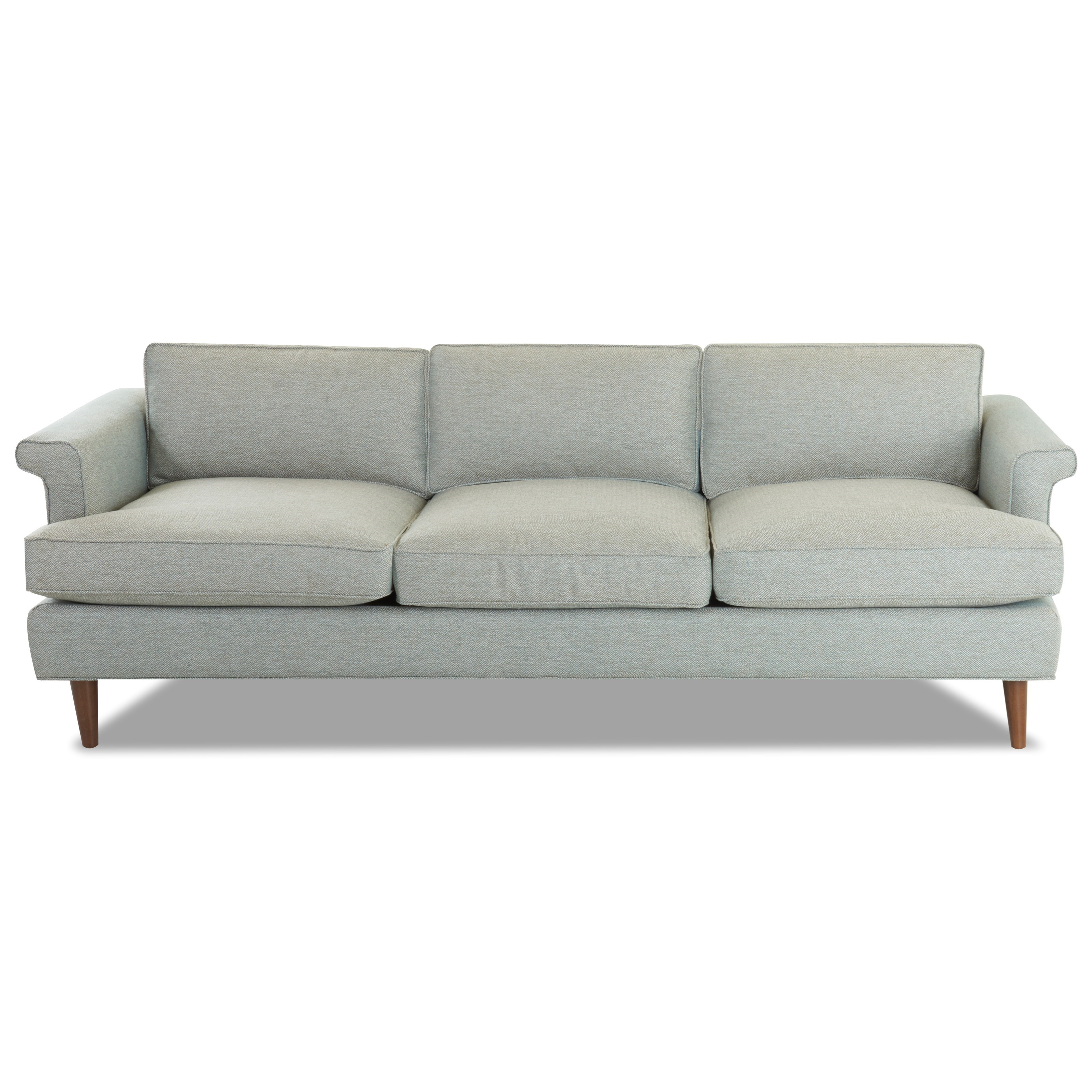 Mid-Century Modern Sofa with Exposed Wood Legs and L-Shaped Arms