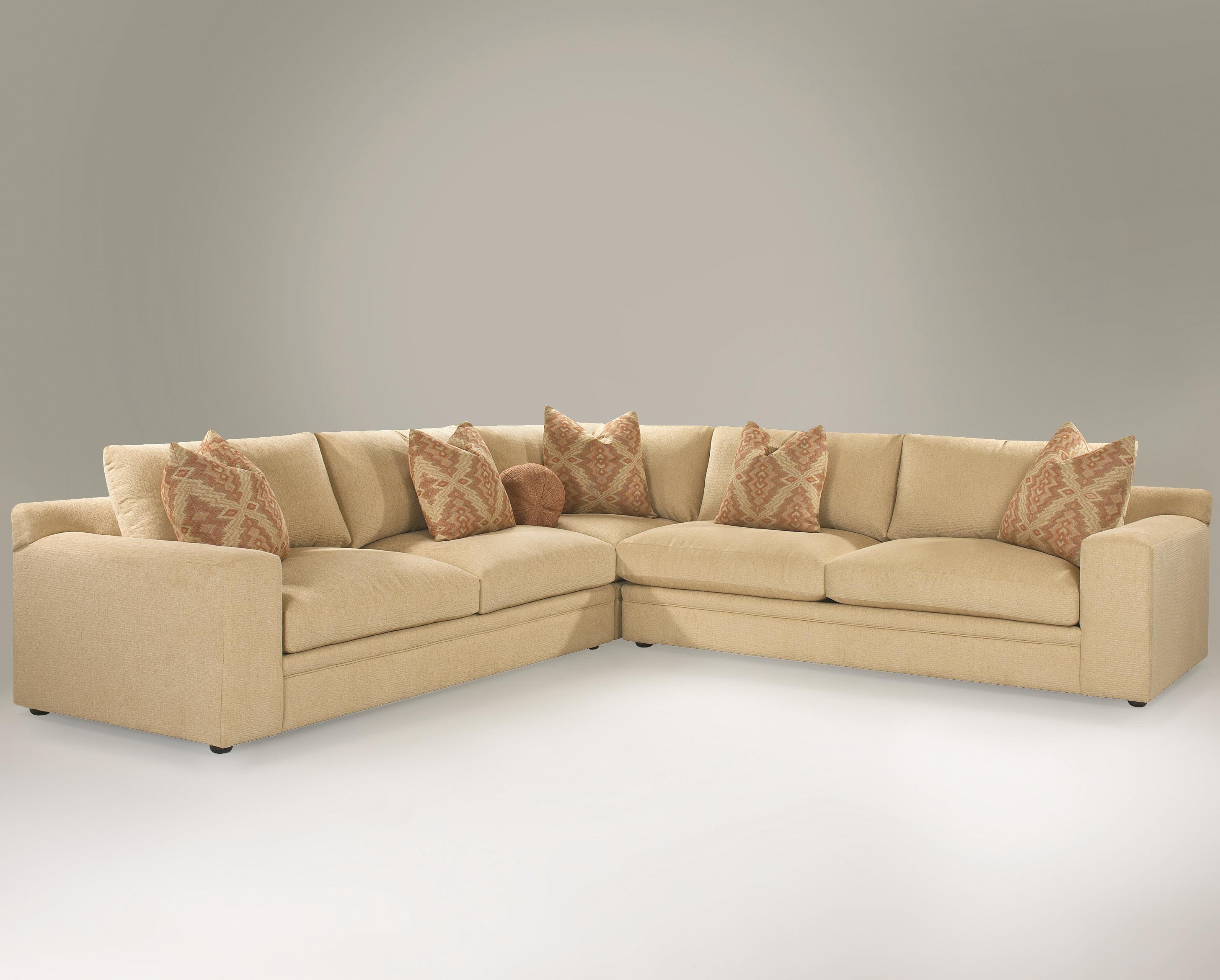 Casual 3 Piece Sectional Sofa with Track Arms and Loose Back