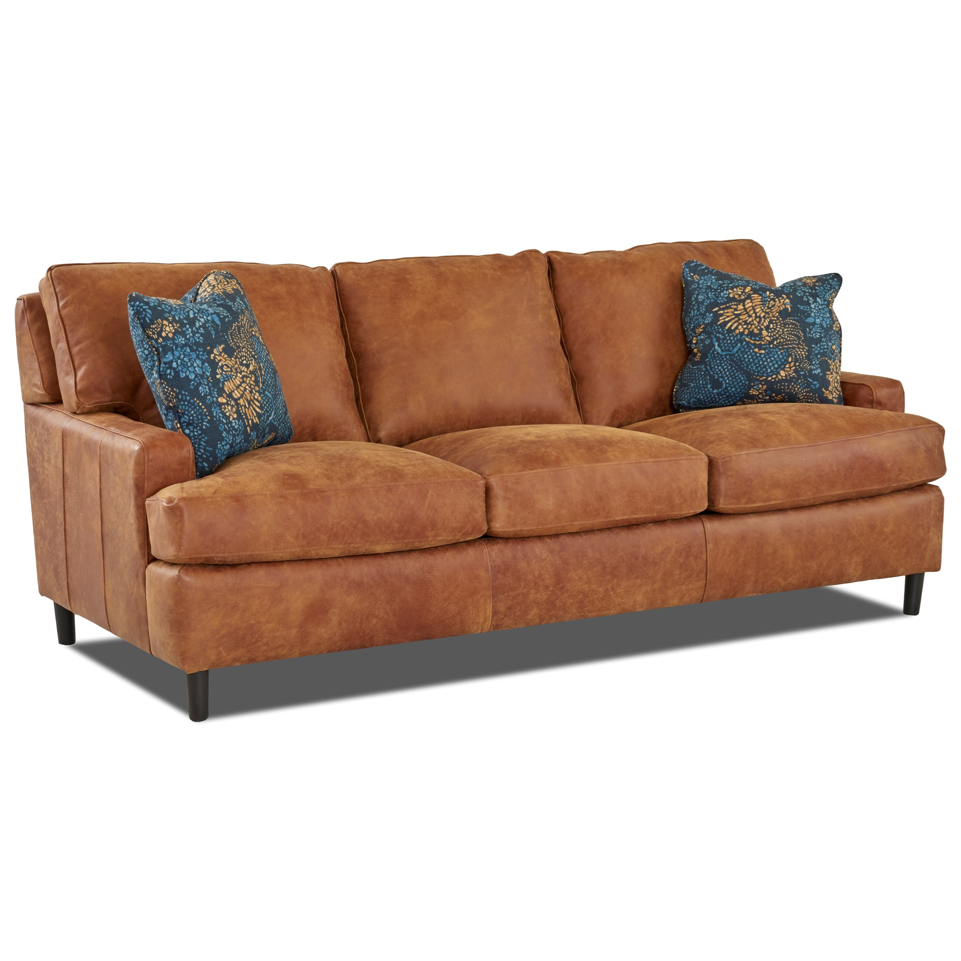 Contemporary Leather Sofa with Arm Pillows