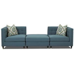Klaussner Celeste Contemporary Three Piece Sectional Sofa