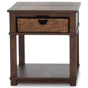 Casual End Table with Flip Top and Storage Basket