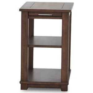 Casual Chairside Table with Two Shelves and Pull-Out Shelf