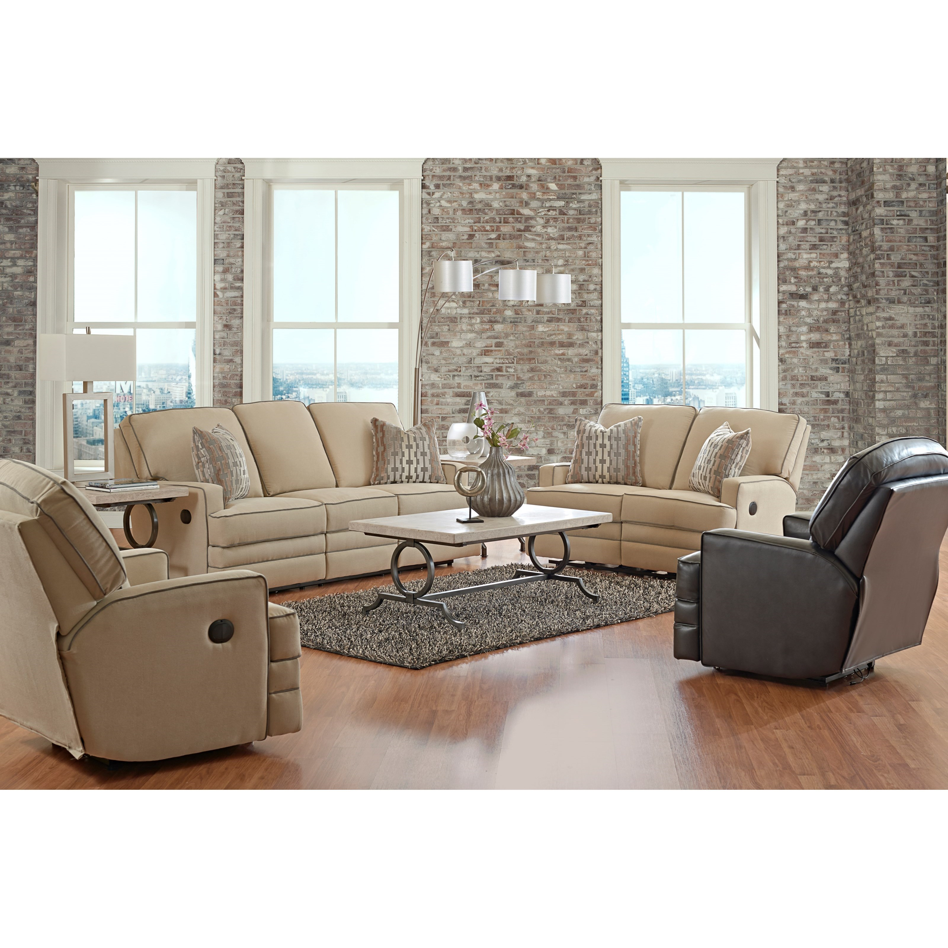 Casual Power Reclining Sofa with Throw Pillows by Klaussner
