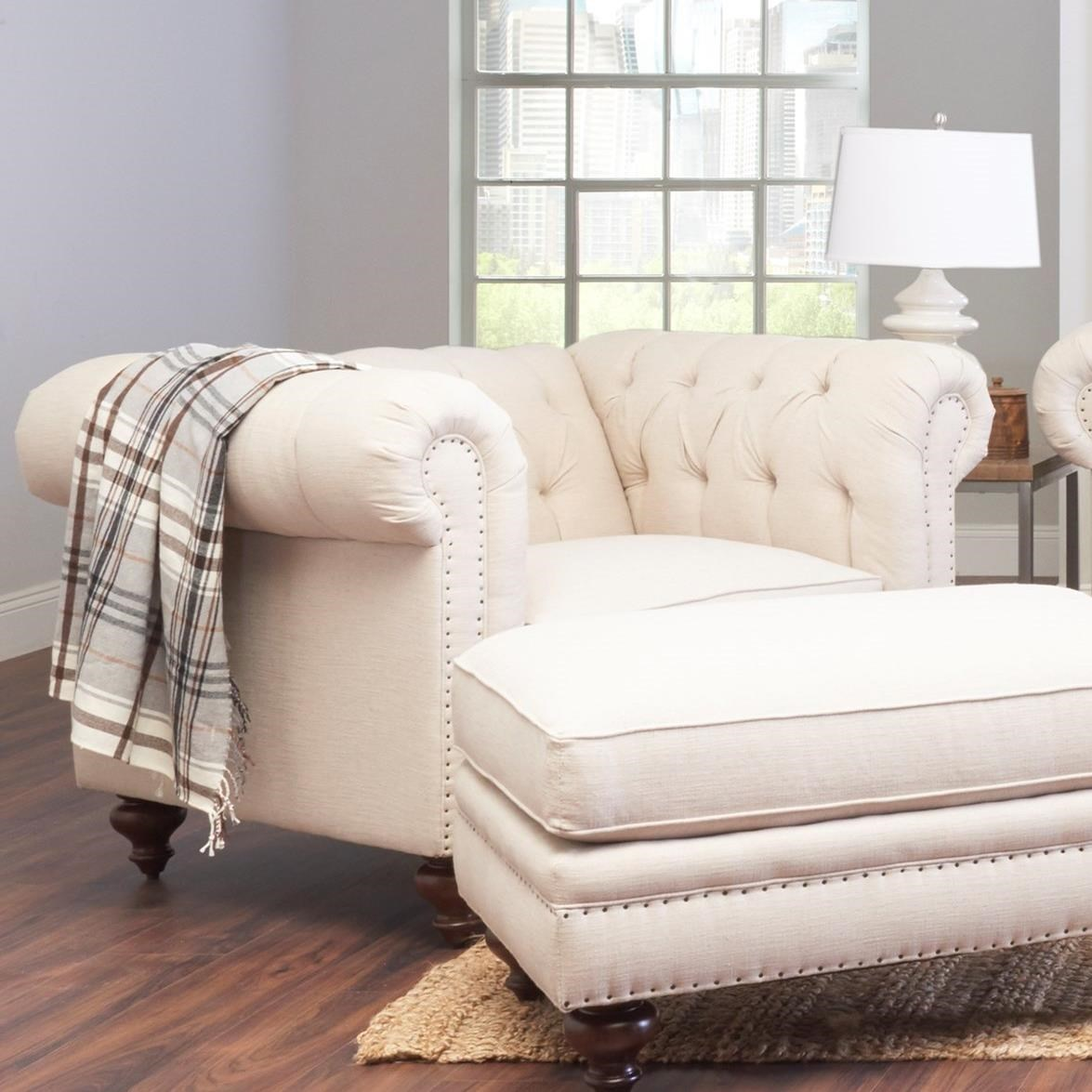 Traditional Tufted Chair and 1/2 with Nailheads