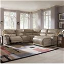 Klaussner Charmed Five Piece Sectional Sofa with Chaise - Shown in Room Setting with Recliner Open