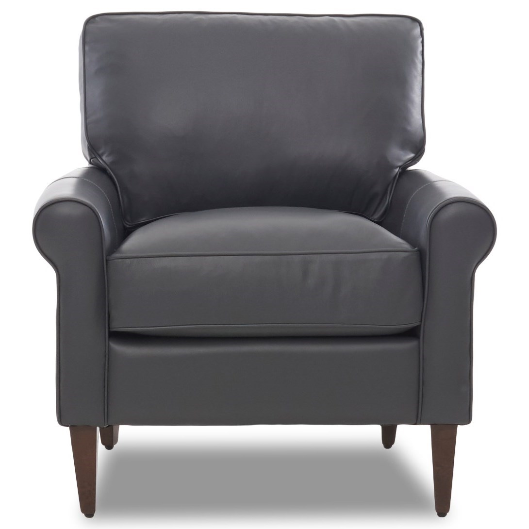 Casual Contemporary Chair with Leather Upholstery and Square Tapered Legs
