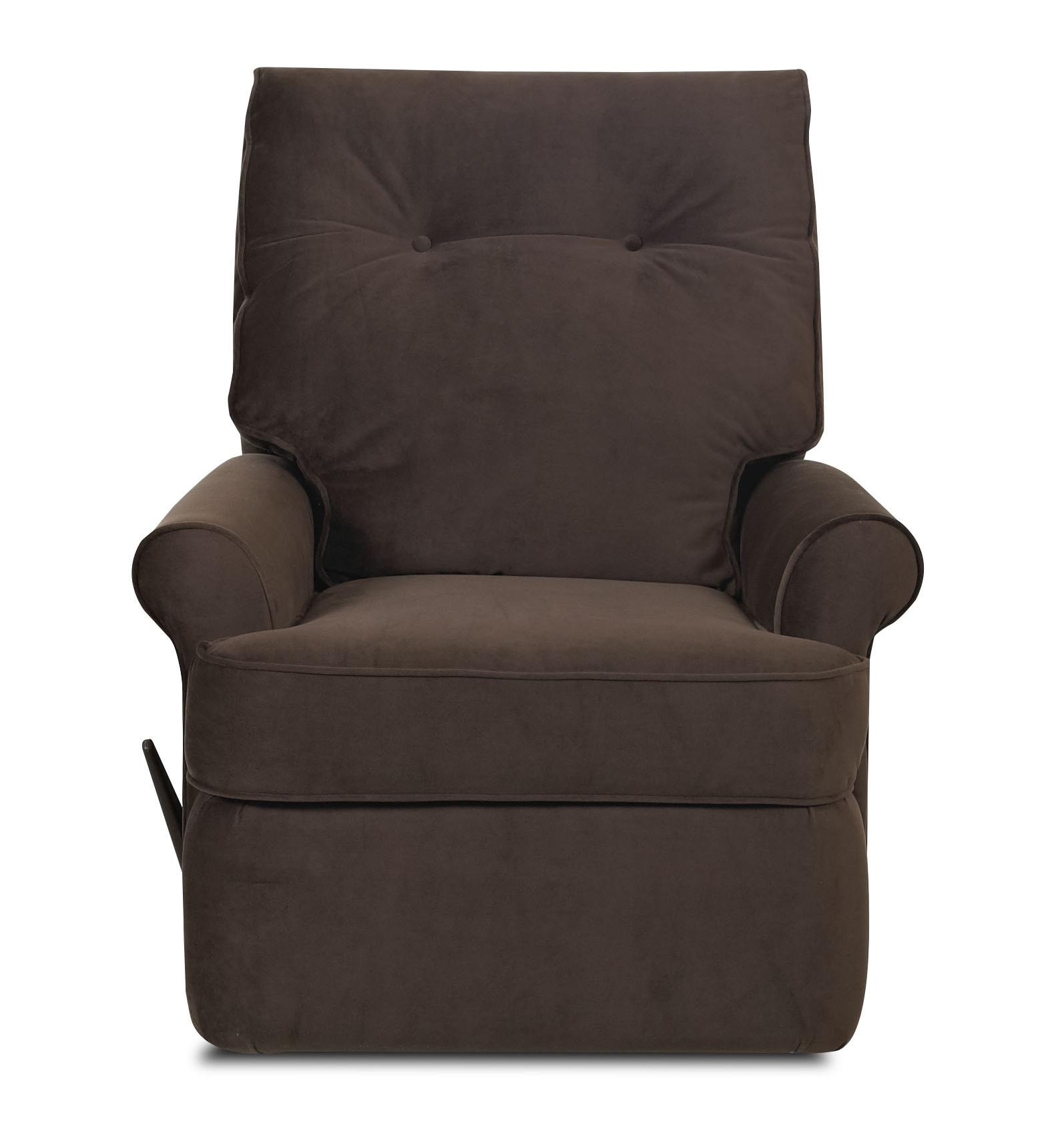 Transitional Reclining Chair with Rolled Arms and Welted Trim