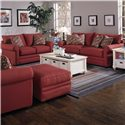 Klaussner Comfy Casual Chair and Ottoman - Shown With Loveseat and Sofa