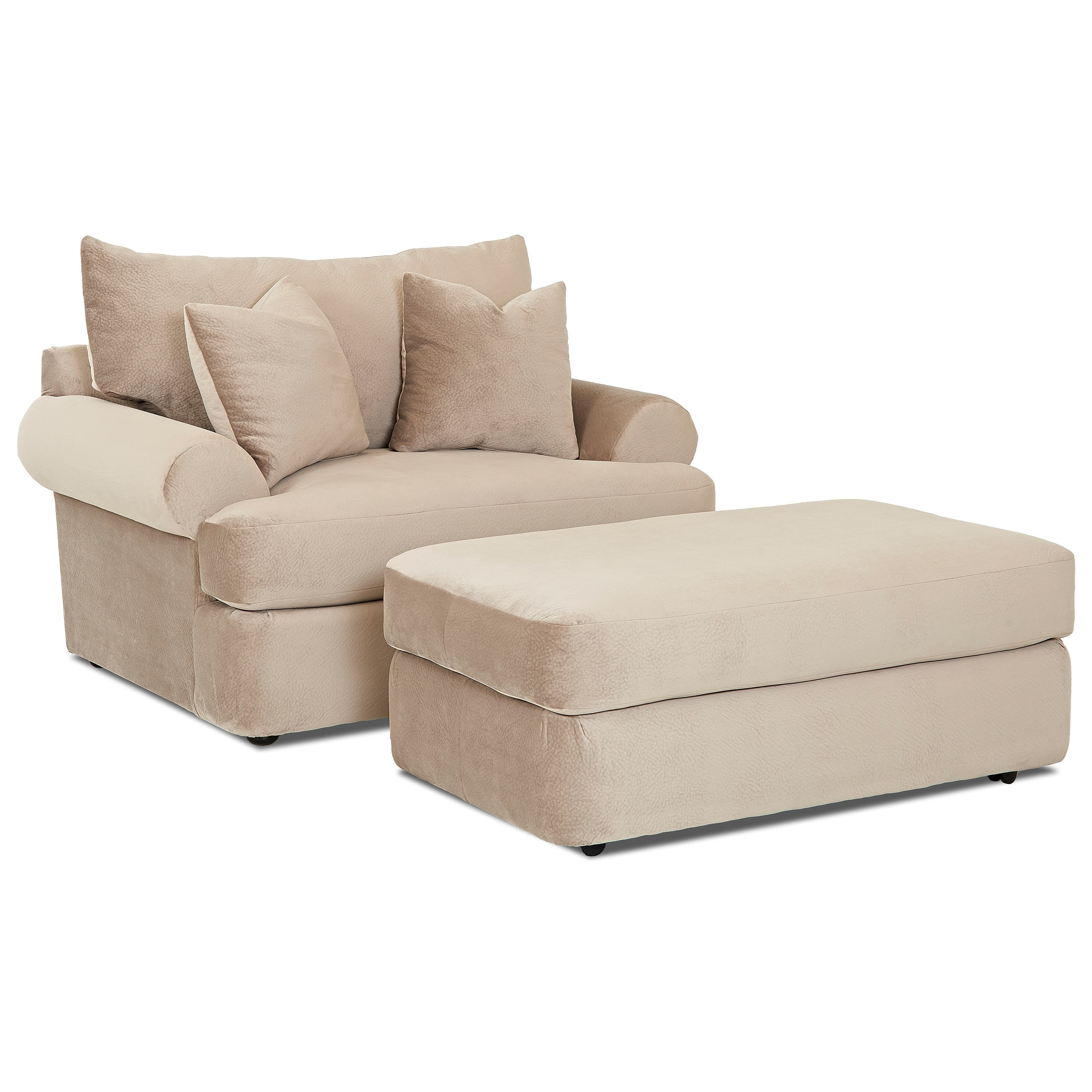 Casual Oversized Chair and Ottoman Set