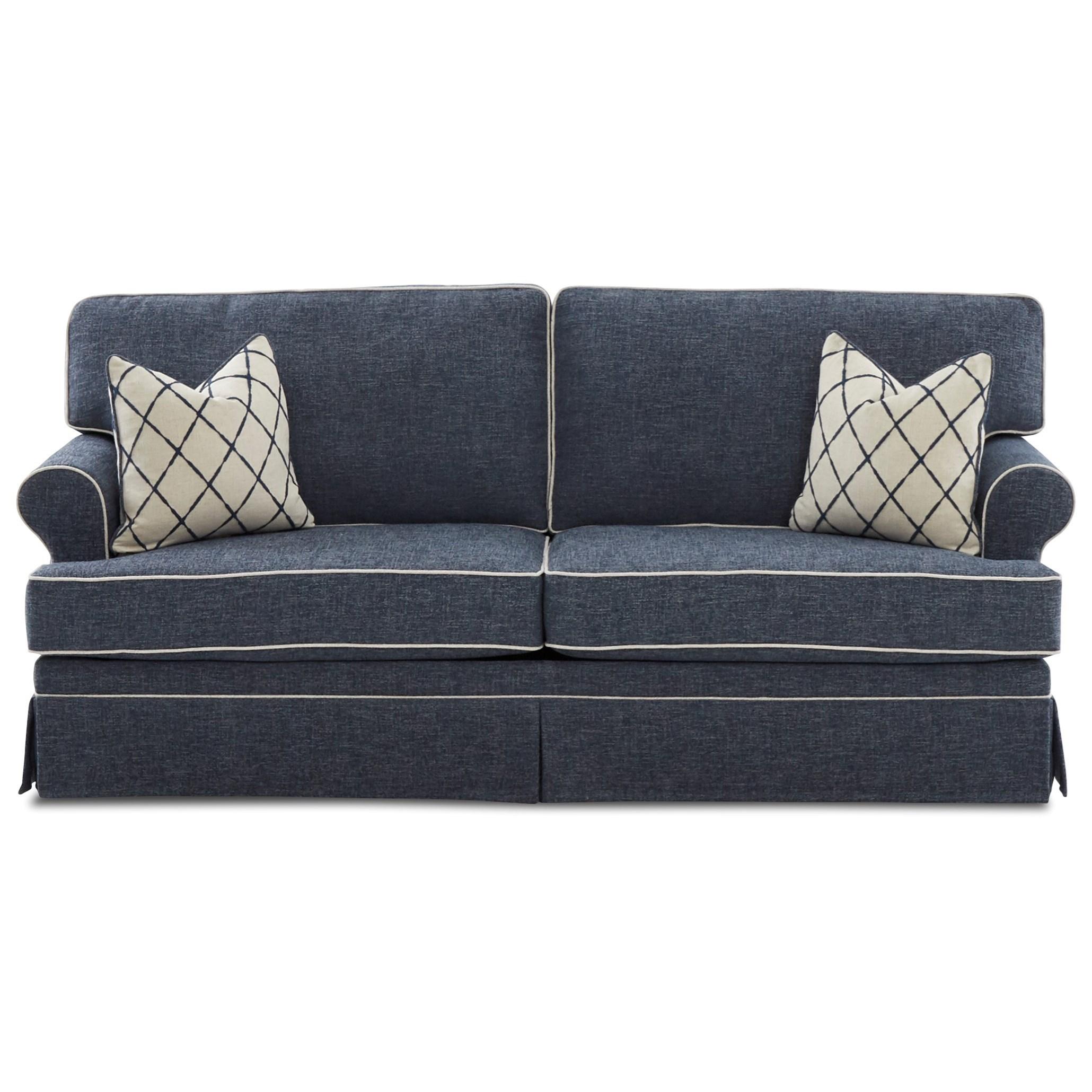 Casual Skirted Sofa Sleeper with Air Coil Mattress