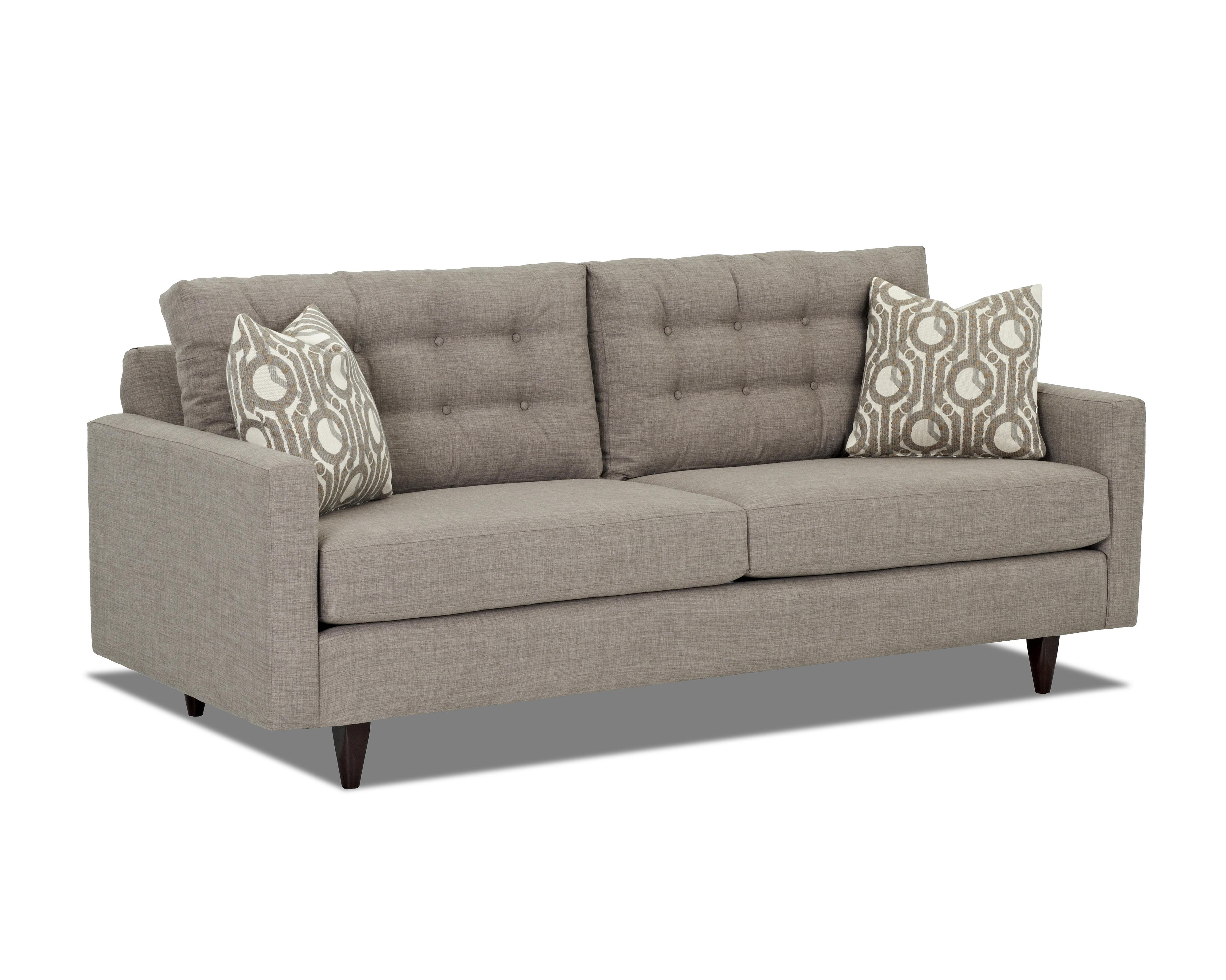 Contemporary Sofa With Tapered Legs And Tufted Loose Back Cushions