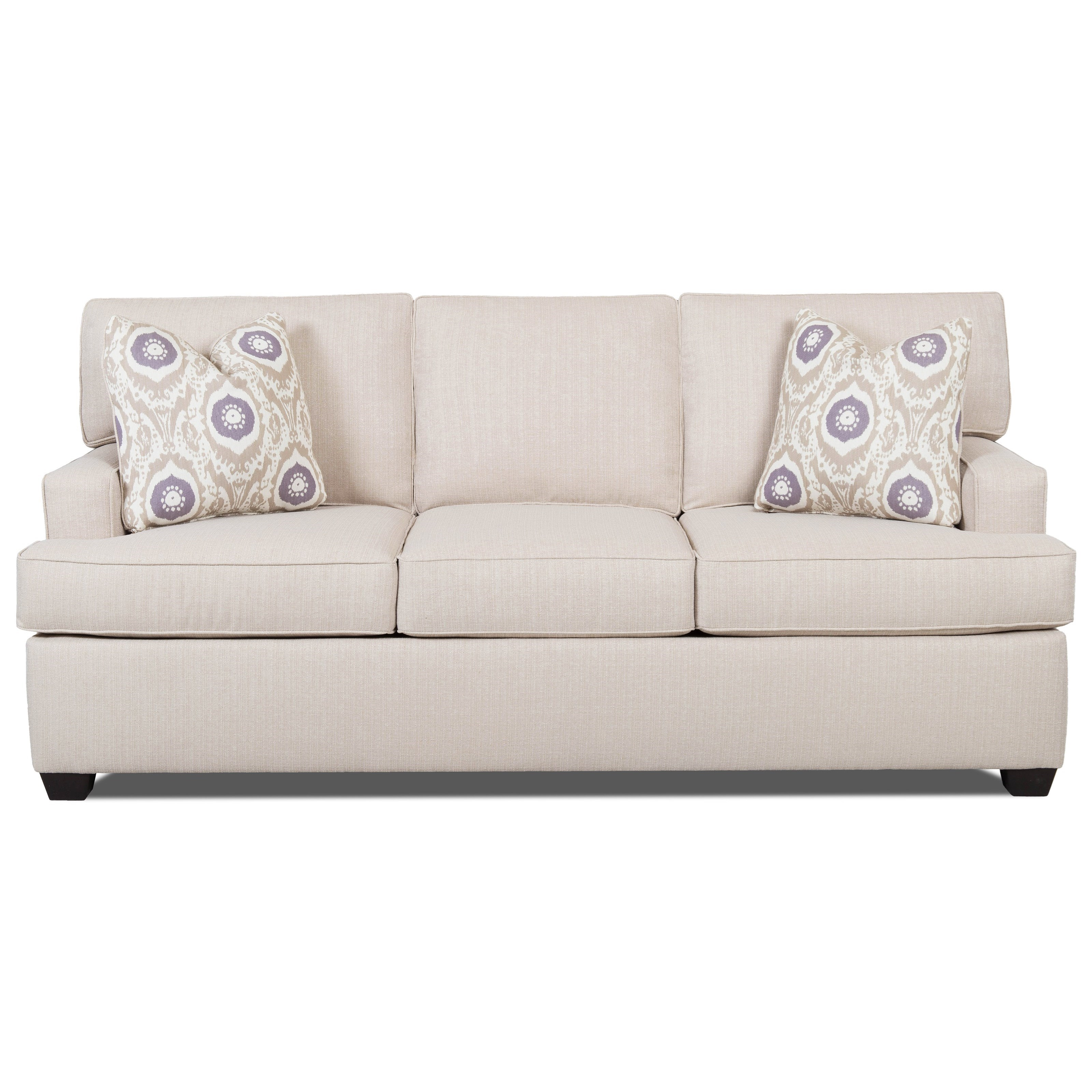 Contemporary Sleeper Sofa With Track Arms And Queen Sized
