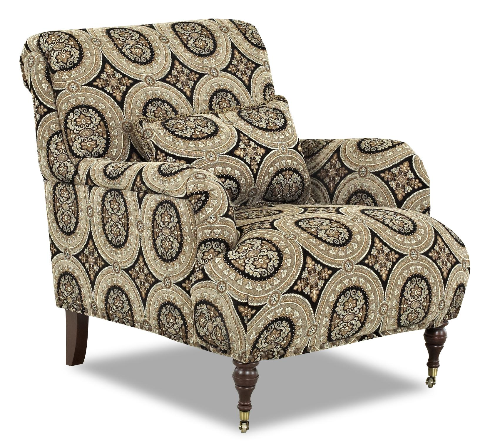Traditional Accent Chair With English Arms And Turned Legs