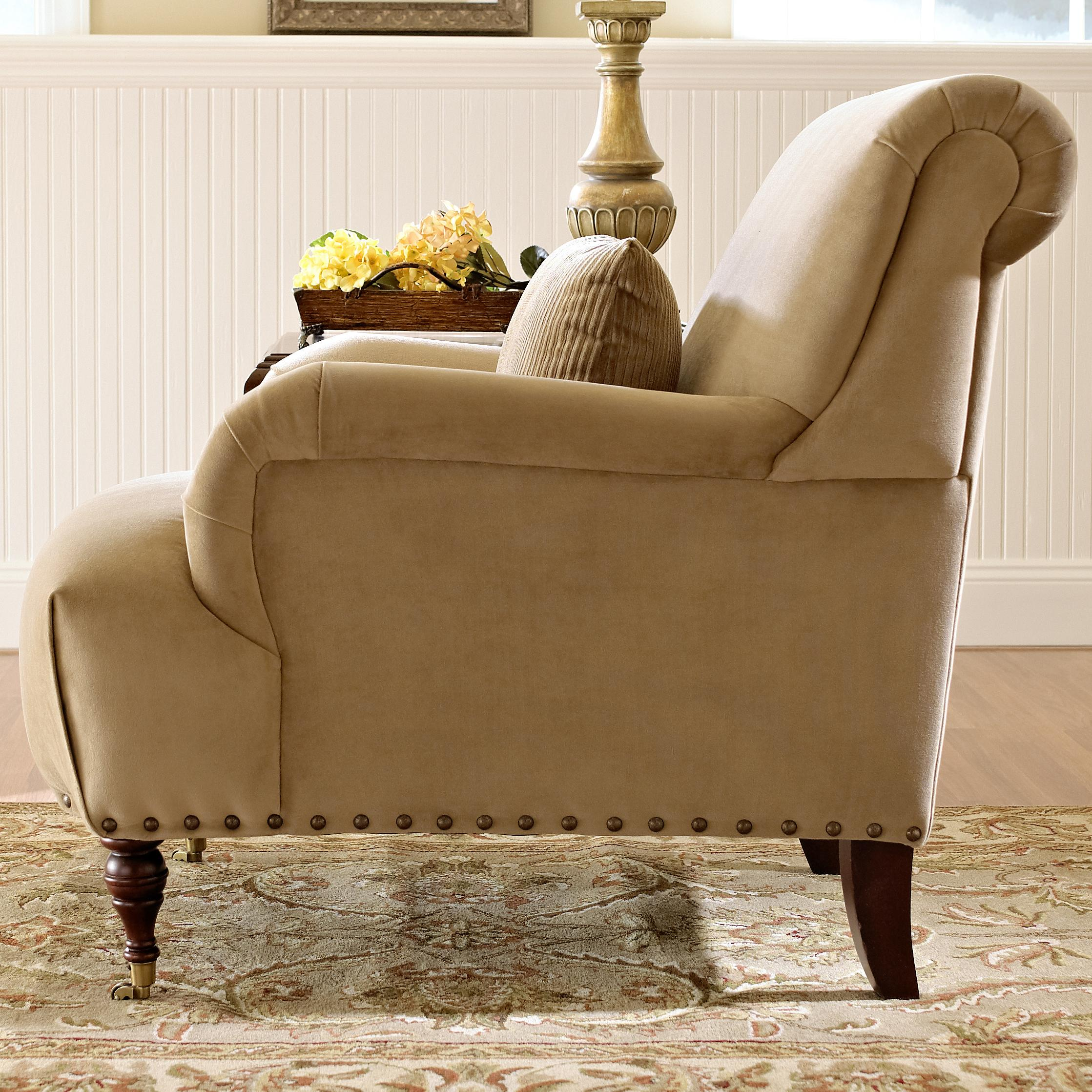 Traditional accent chairs - Traditional Accent Chair With English Arms And Turned Legs With Casters